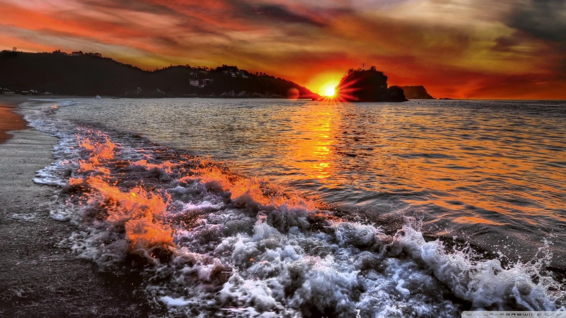 1920x1200 Wallpaper Qmhgxry Seaside Beautiful Sunset Sunrise Scenery Pretty Images 1920A 1200