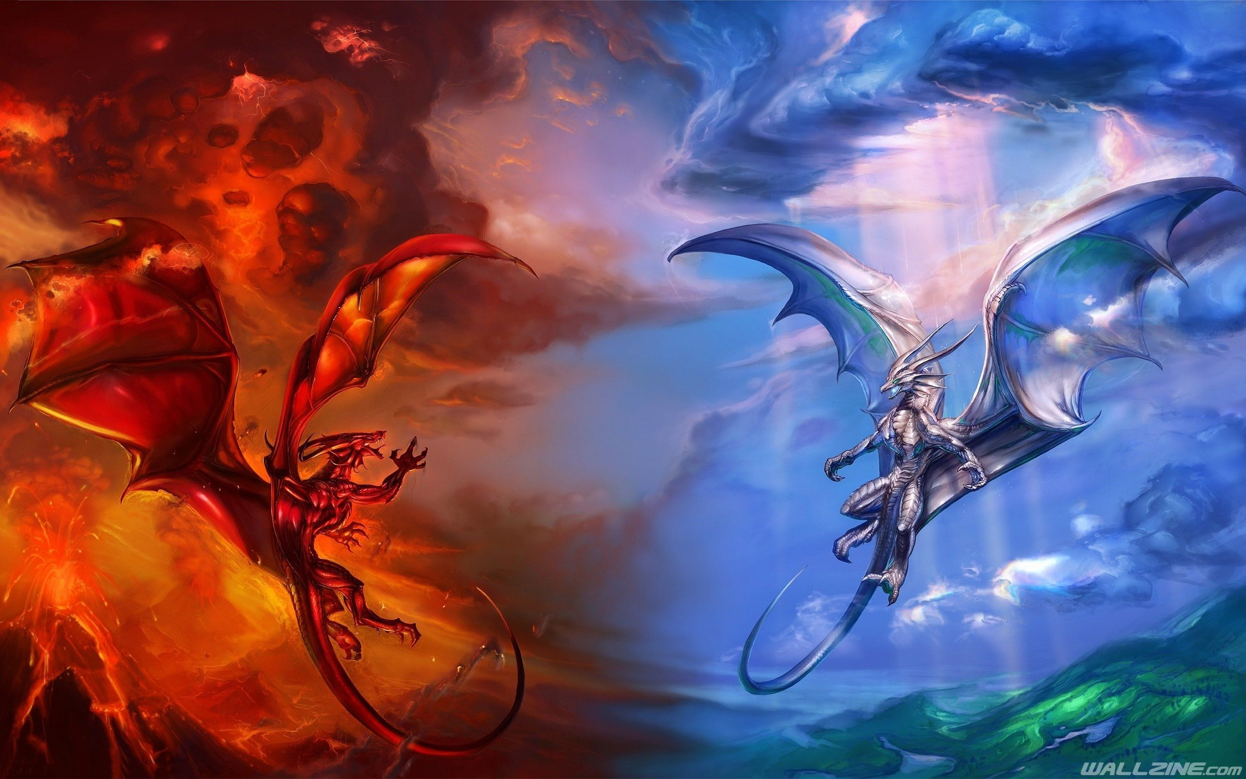 2560x1600 Heaven And Hell Dragons Wallpaper