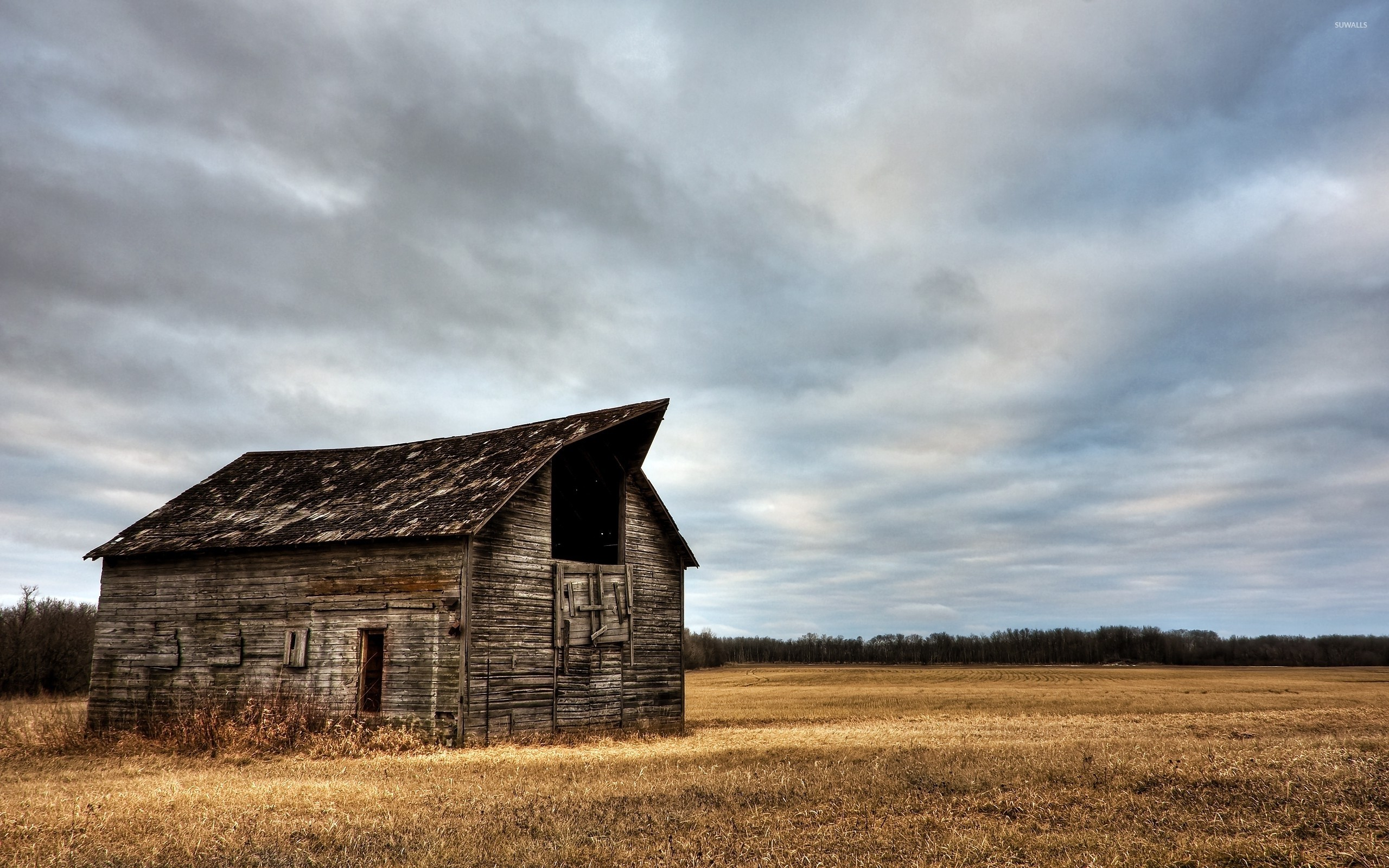 2560x1600 Abandoned wooden barn on a clouded day wallpaper  jpg