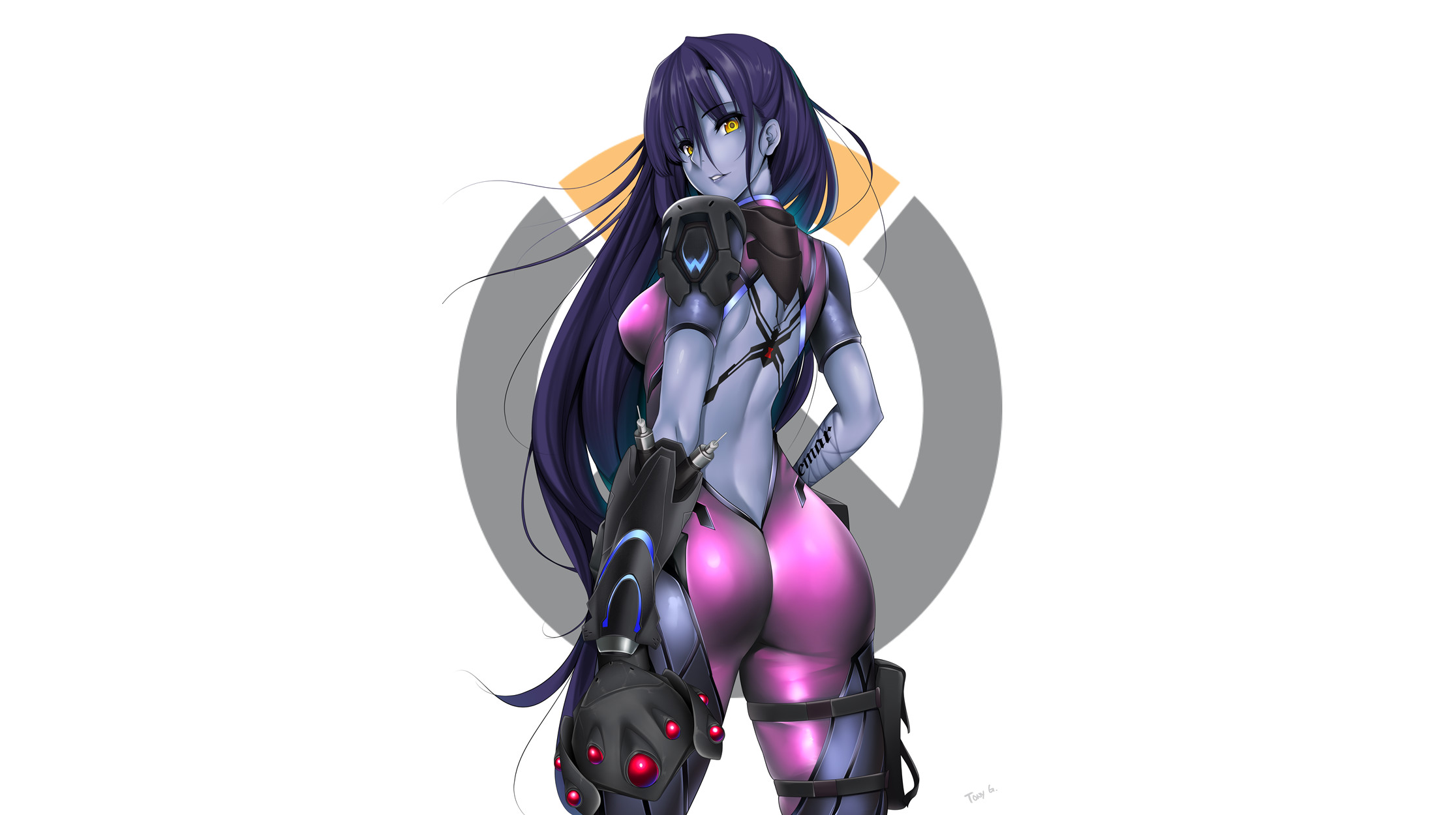 2232x1250 Video Game - Overwatch Widowmaker (Overwatch) Long Hair Purple Hair Yellow  Eyes Wallpaper