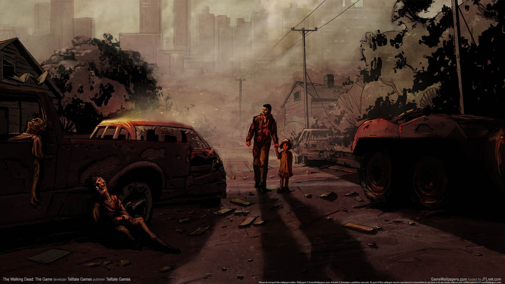 1920x1080 the walking dead the game the walking dead game art art picture men child zombie  apocalypse