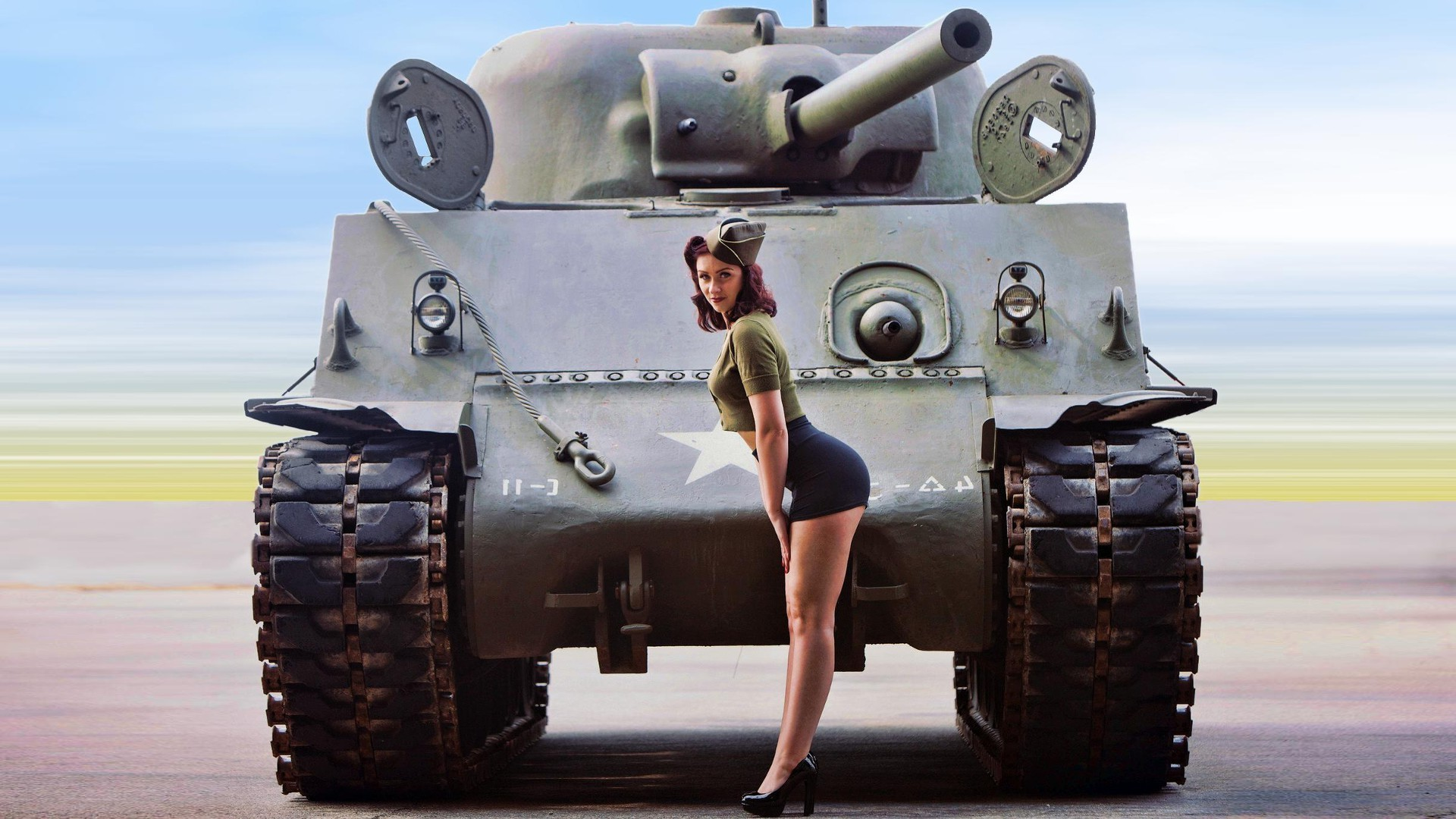 1920x1080 pinup Models, World War II, Women, M4 Sherman Wallpapers HD / Desktop and  Mobile Backgrounds