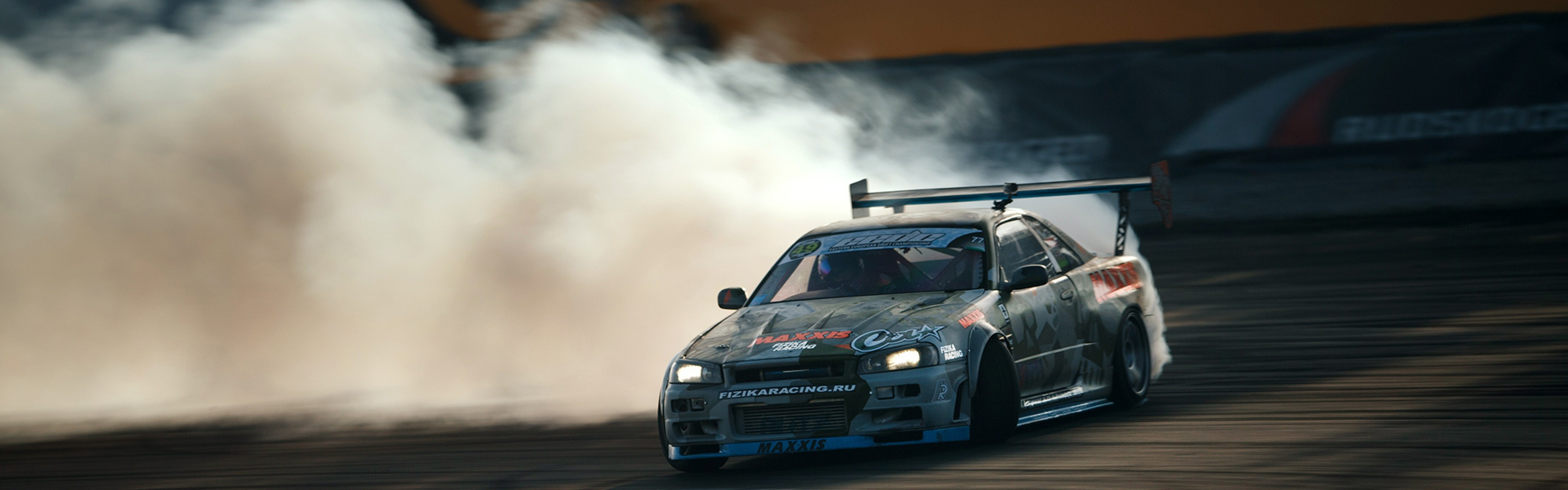 3840x1200  Wallpaper nissan, skyline, gtr, drift, r34