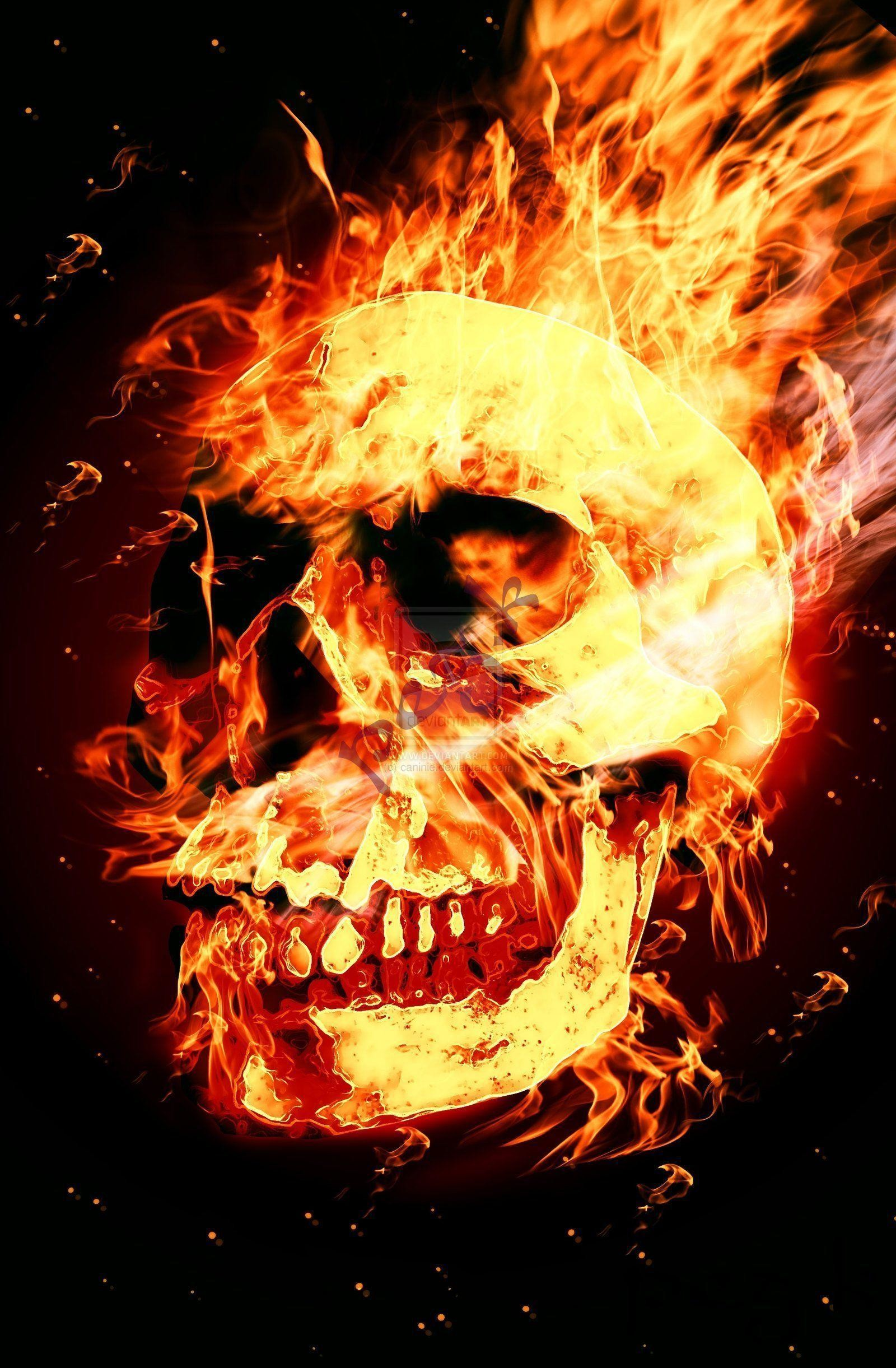 Images of Flaming Skull Wallpaper - #rock-cafe