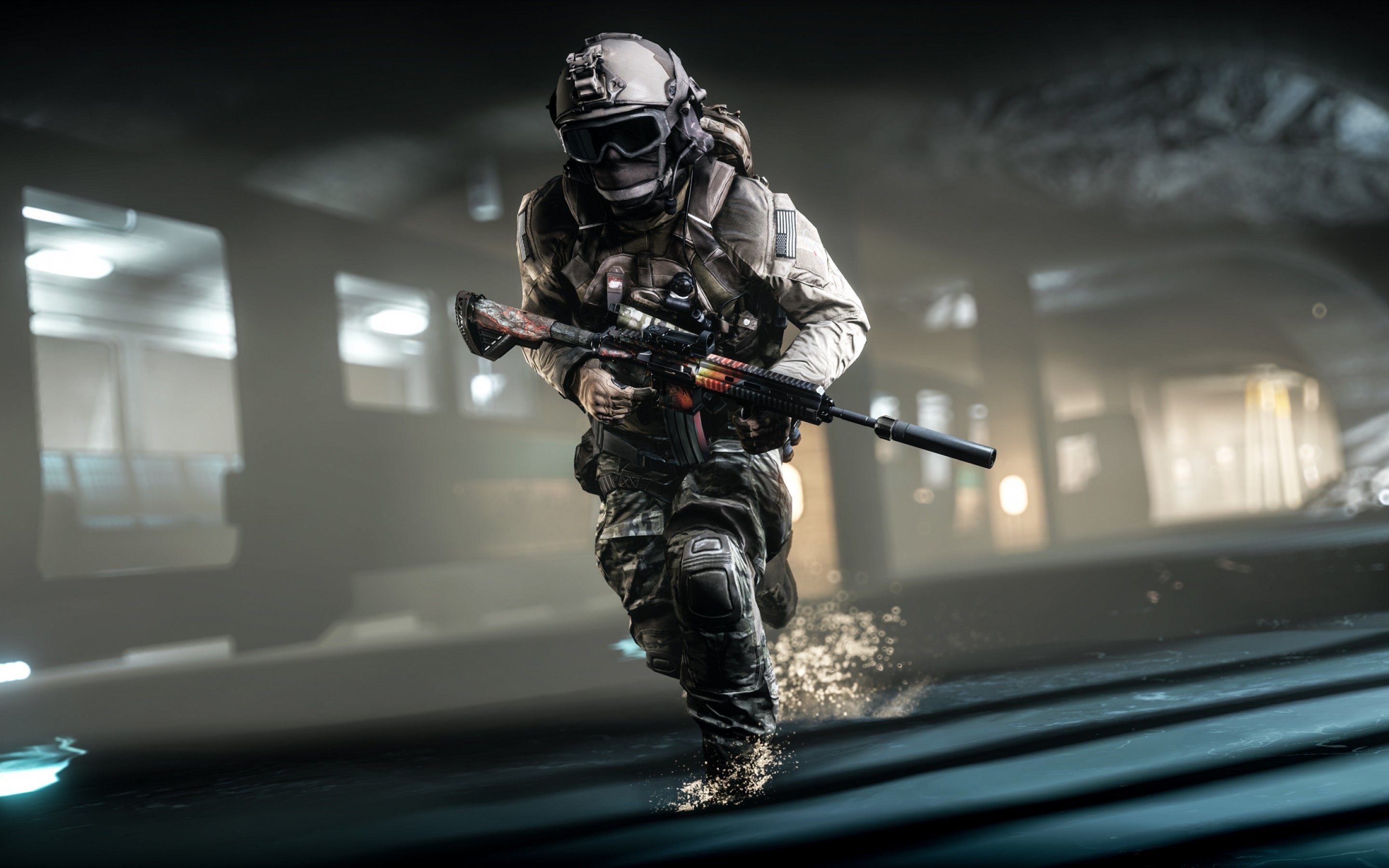 2880x1800 Soldier, Assault rifle, Battlefield 4, HD
