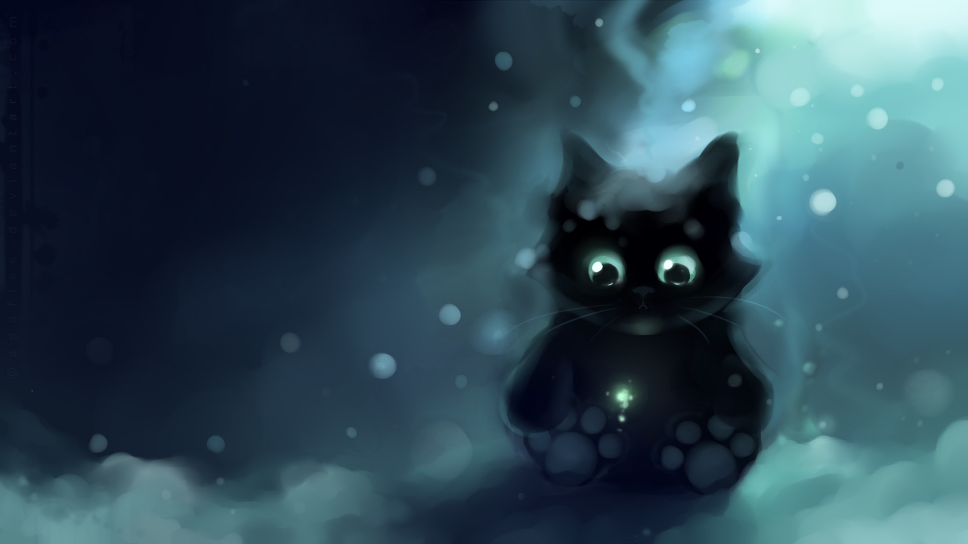 1920x1080 Heart-touching Cuties and Kittens : Speed Painting by Apofiss - Snow Bits  and Little Paw, Fat Sweet Kitten Painting Wallpaper 3