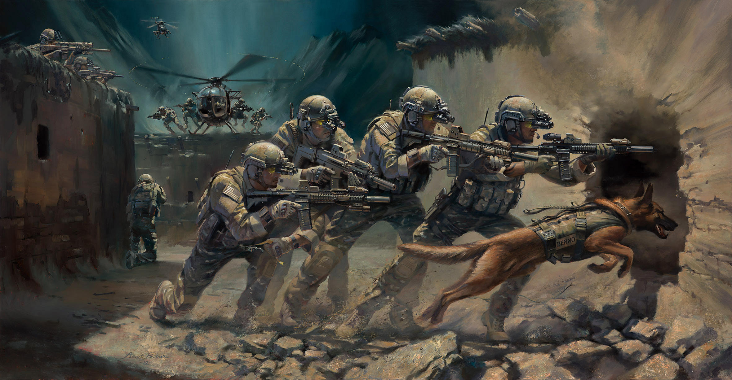 2361x1227 Download wallpaper art, soldiers, special forces, assault rifles, weapons,  equipment,