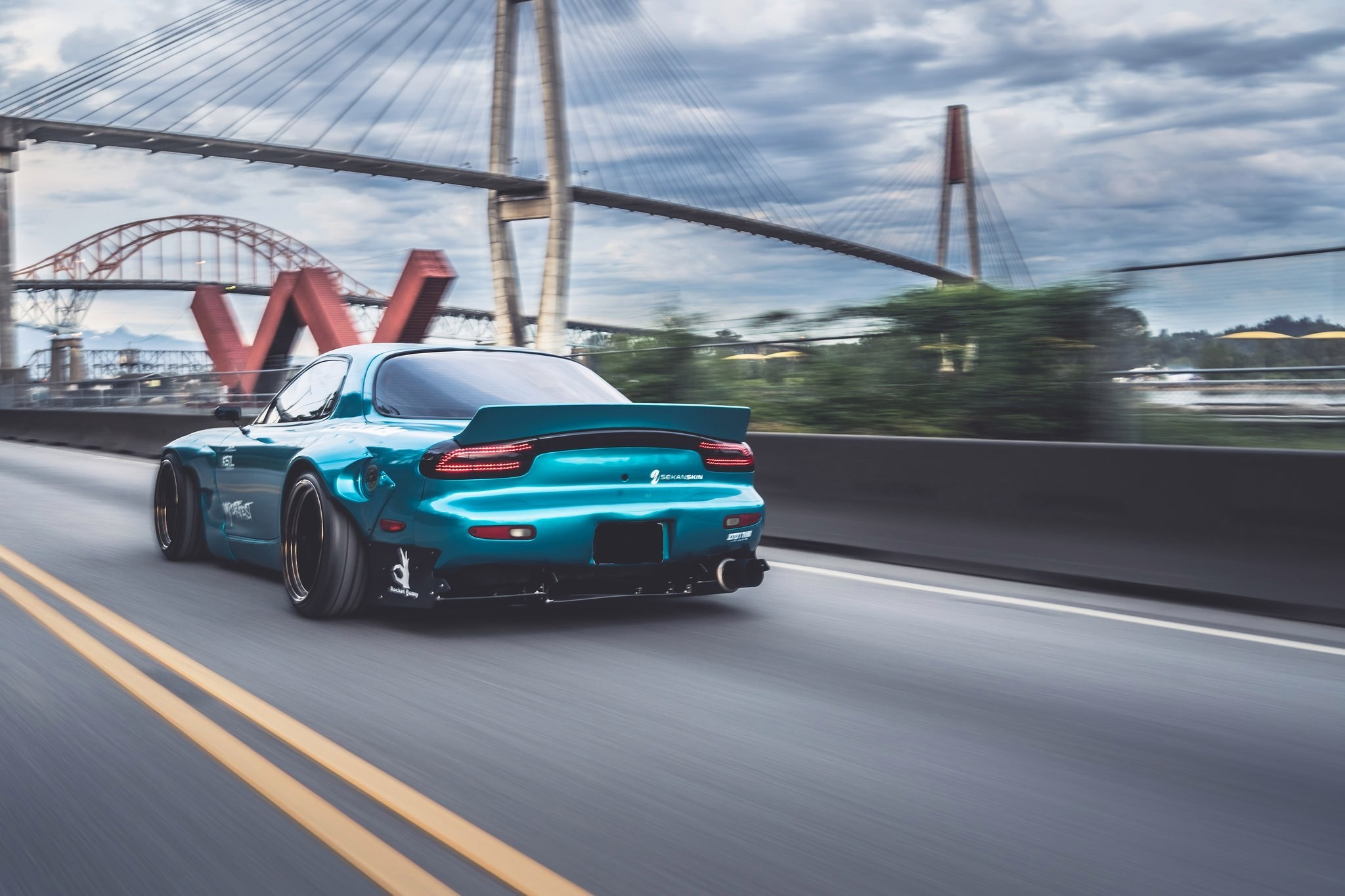 2048x1365 sports car, Mazda RX 7, Mazda, Blue cars, Bridge, Rocket Bunny Wallpapers  HD / Desktop and Mobile Backgrounds