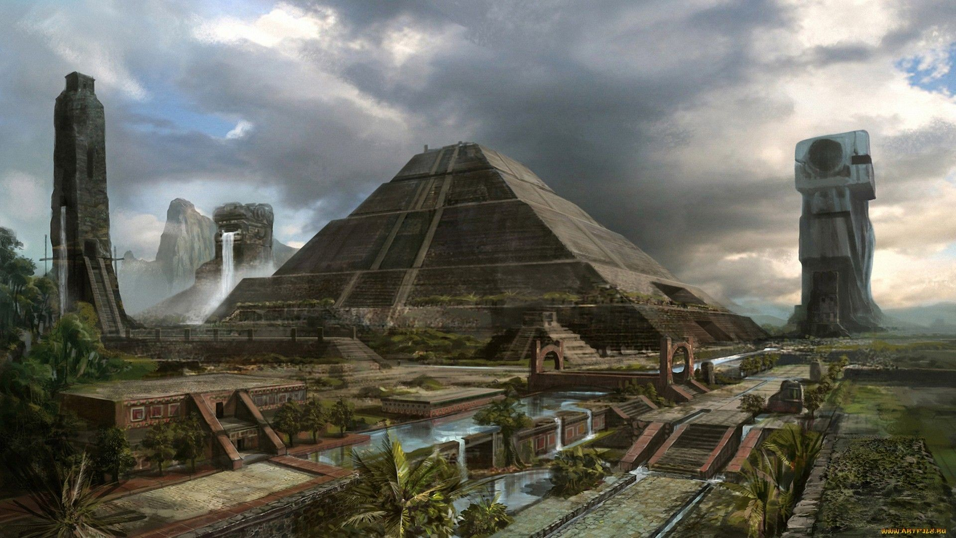 1920x1080 Ancient Aliens · Fantasy - City Wallpaper ♢desktop ♢ Cultura Maya, Recorded  History, Fantasy City,
