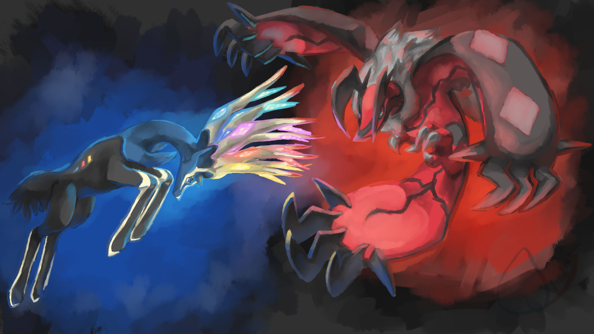 1920x1080 Yveltal and Xerneas battle