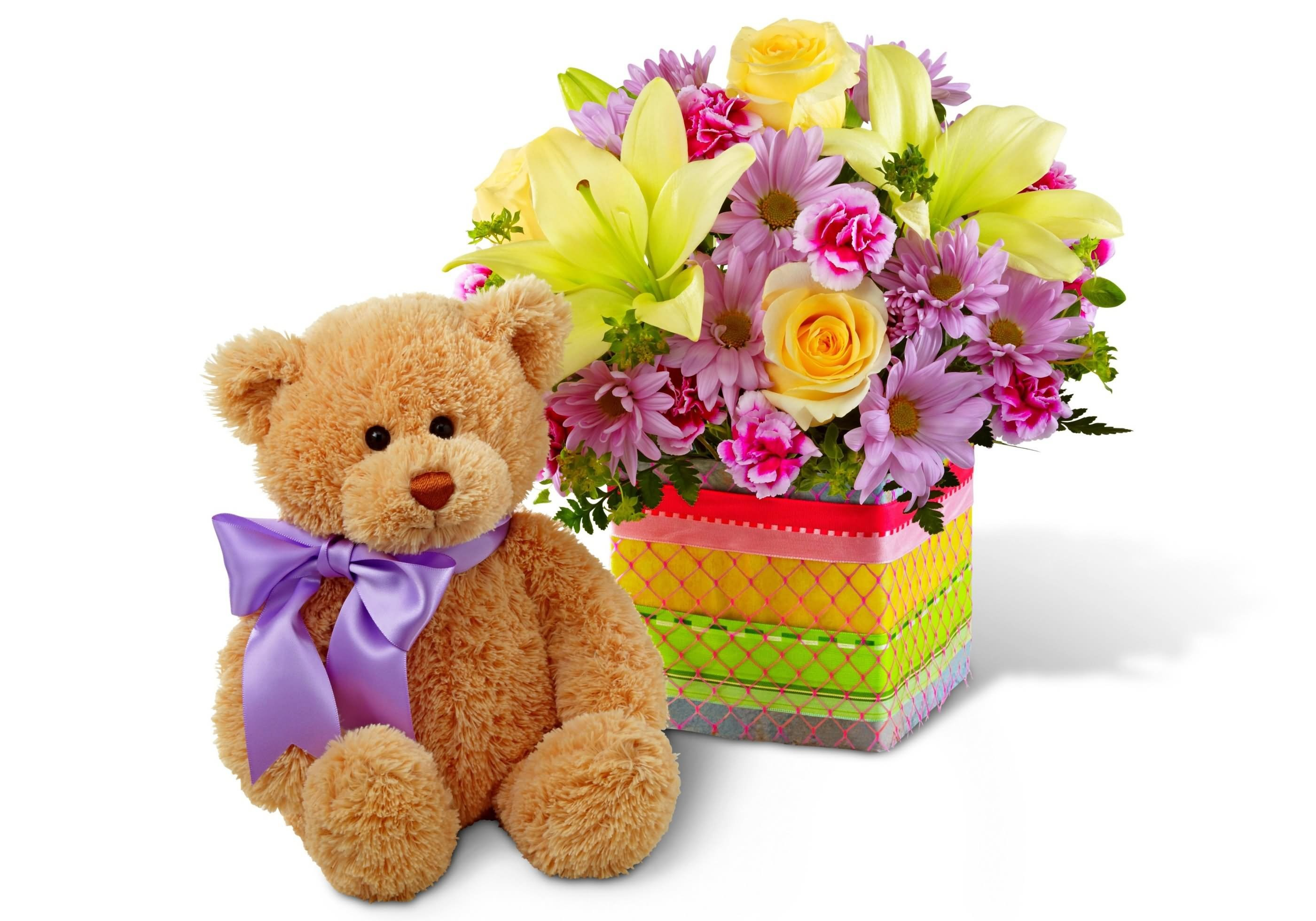 2800x1960 Teddy Bear With Flowers Bouquet For You