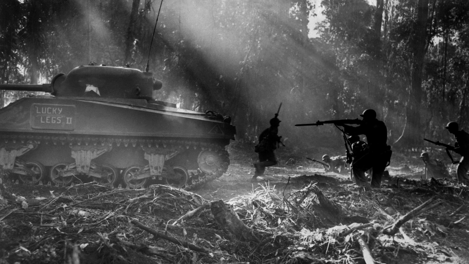 1920x1080 Soldiers war guns army sherman tanks us marines corps us army soldat world  war ii monochrome