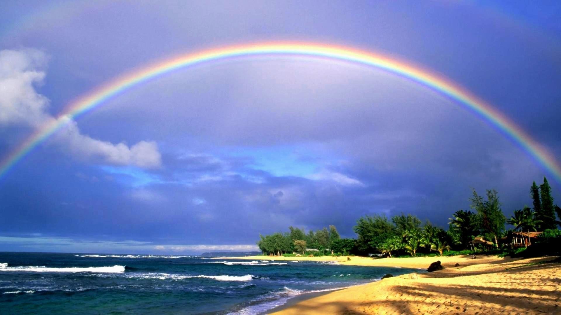 1920x1080 Rainbow-Hawaii-Beach-Wallpaper-HD-Free-Download