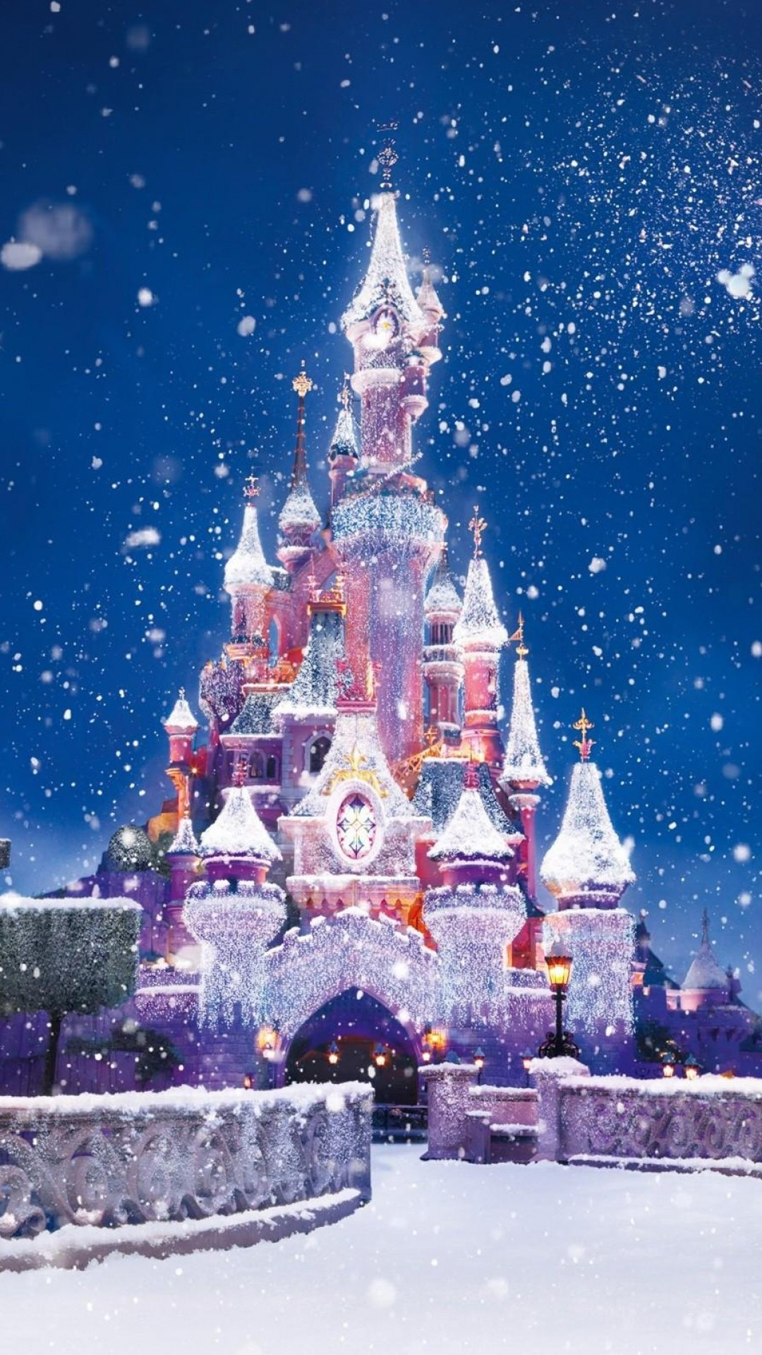 1080x1920 Disney Castle Christmas Lights Snow Android Wallpaper ...