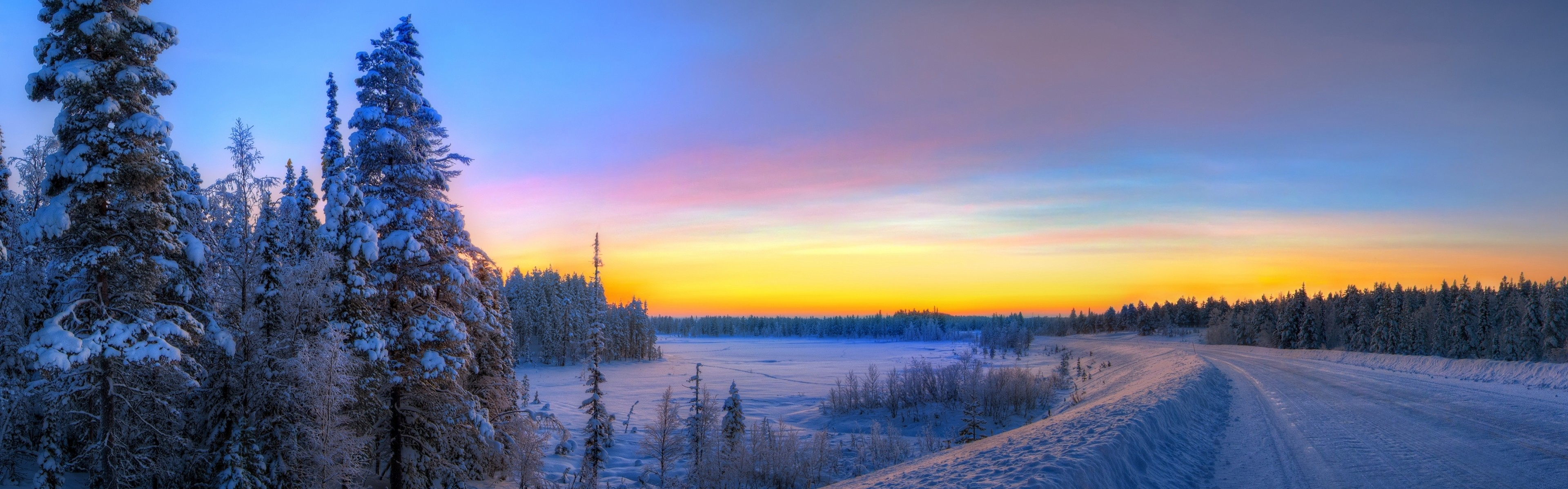 3840x1200 Preview wallpaper panorama, sunset, road, winter, landscape