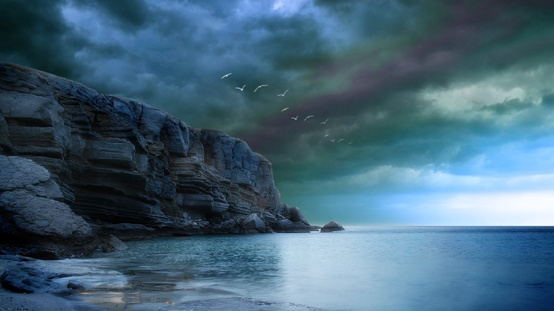 1920x1080 Oceans - Rocky Amazing Rock Blue Birds Sky Sea Clouds Dark Ocean Storm  Storms Cliff Beautiful