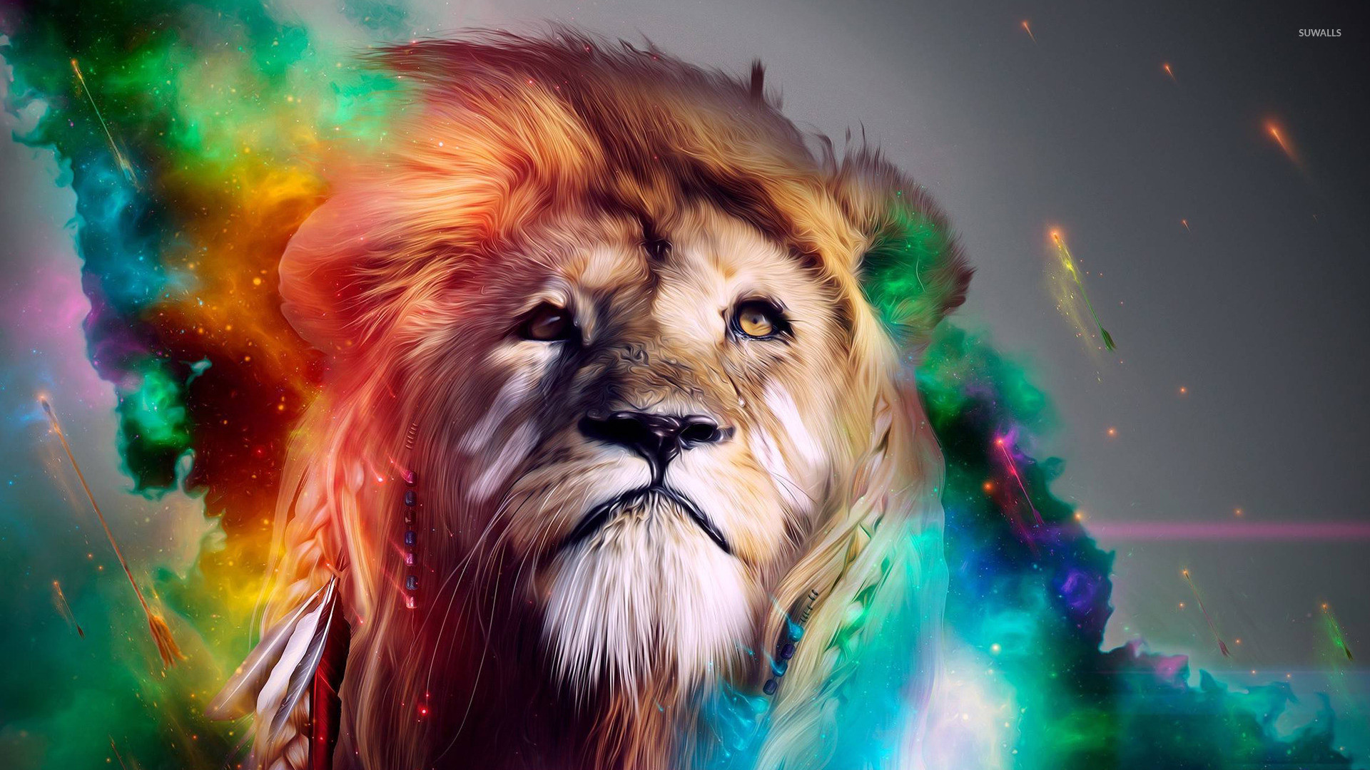 1920x1080 Colorful lion wallpaper - Digital Art wallpapers - #15854