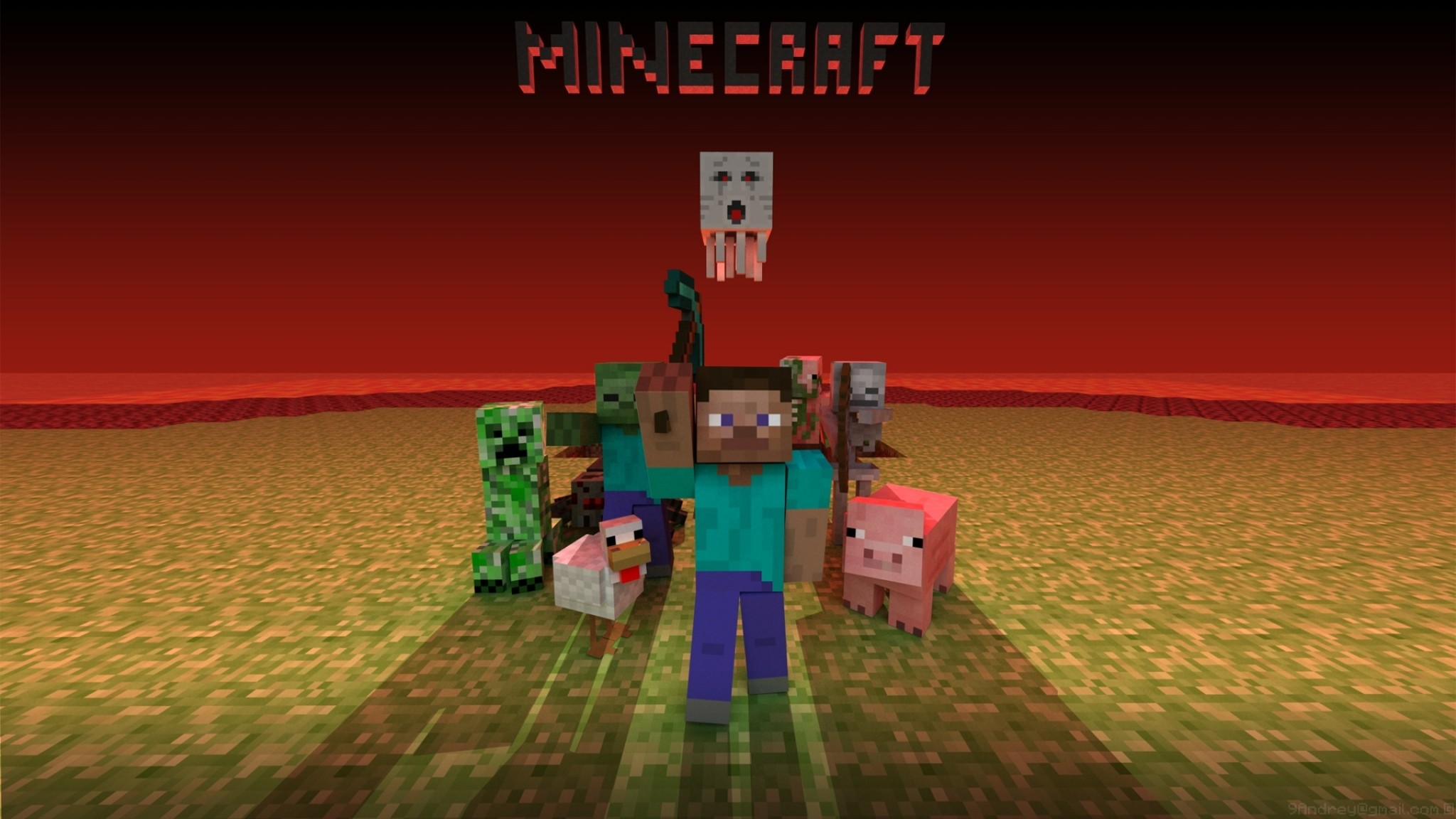 2048x1152 Preview wallpaper minecraft, mobs, creeper, snake, zombie, chicken, pig,