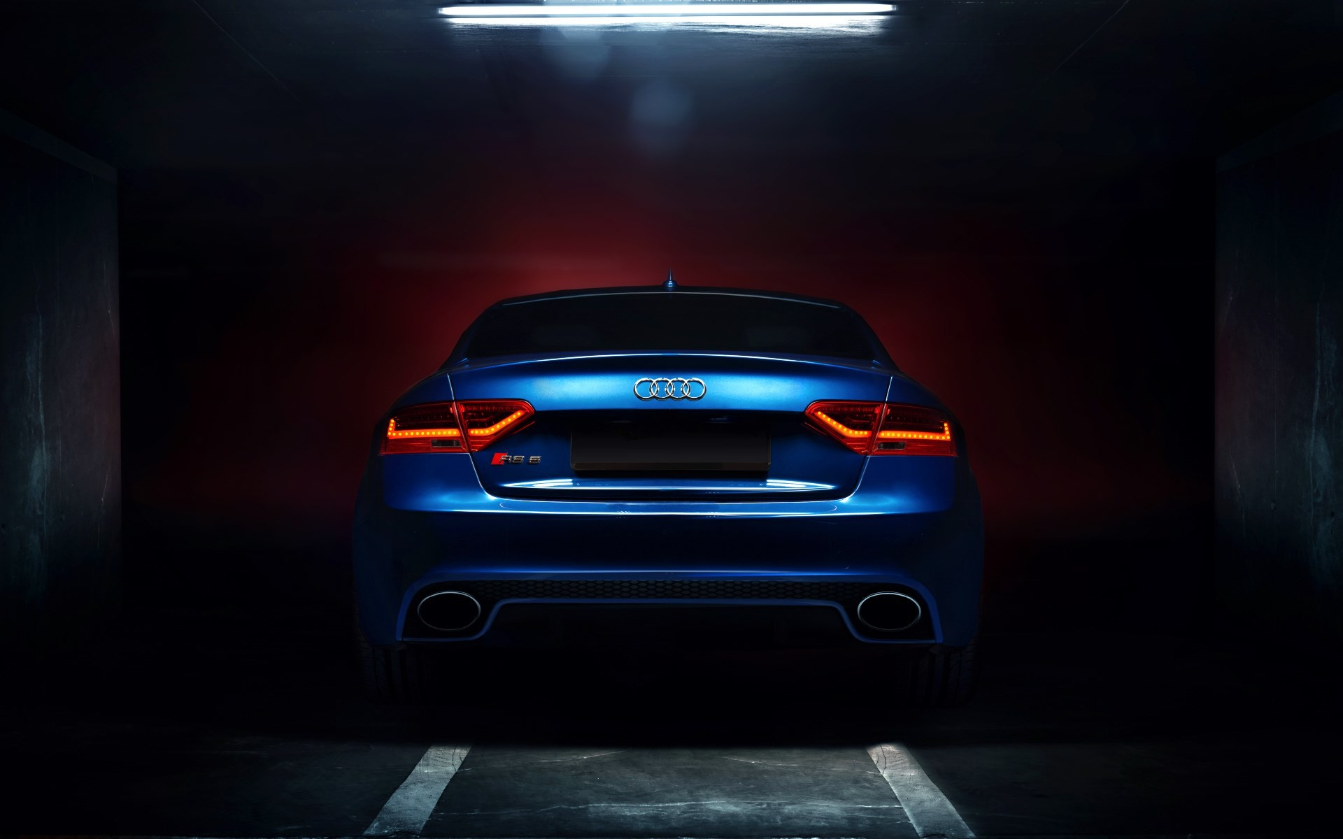 1920x1200 Audi RS5 Coupe Tuning Blue Car Backlights Glow