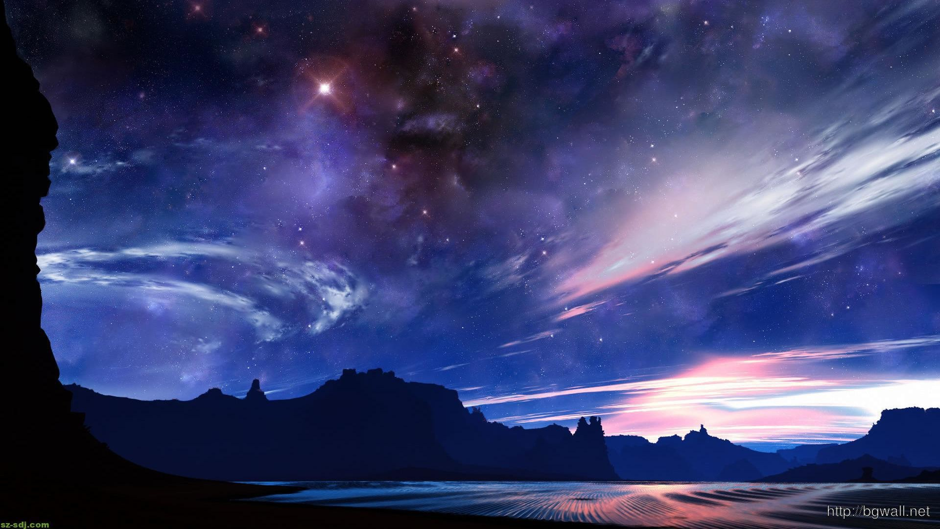 1920x1080 Clear Night Sky In The Desert Wallpaper