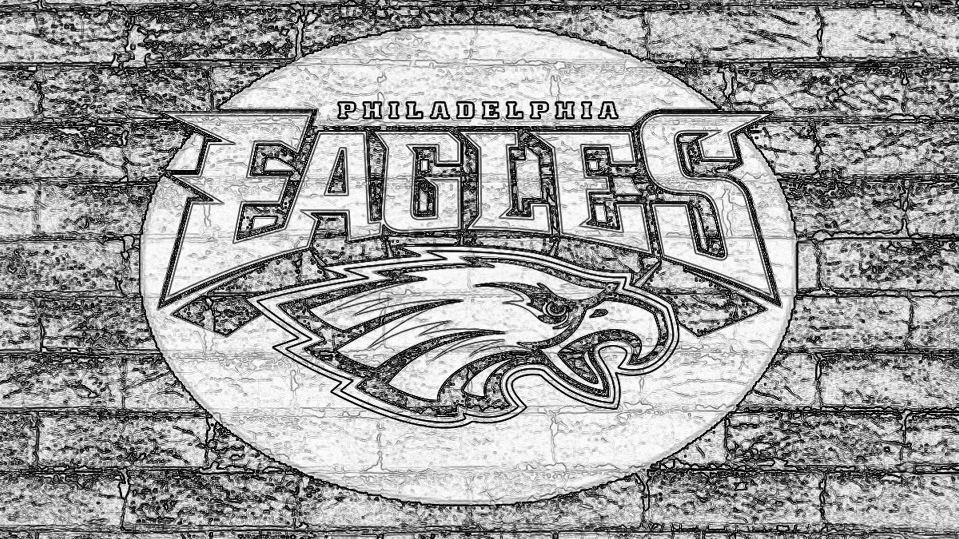 1920x1080 Philadelphia Eagles Sketch Logo On Grey Brick Wall 1920X1080 HD NFL