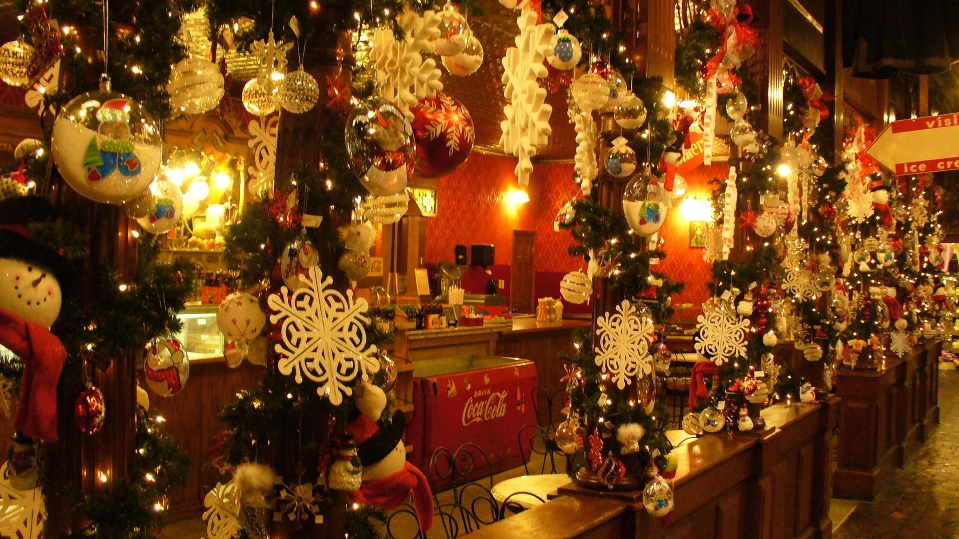 1920x1080  Wallpaper christmas ornaments, snowflakes, cafes, needles,  christmas, holiday