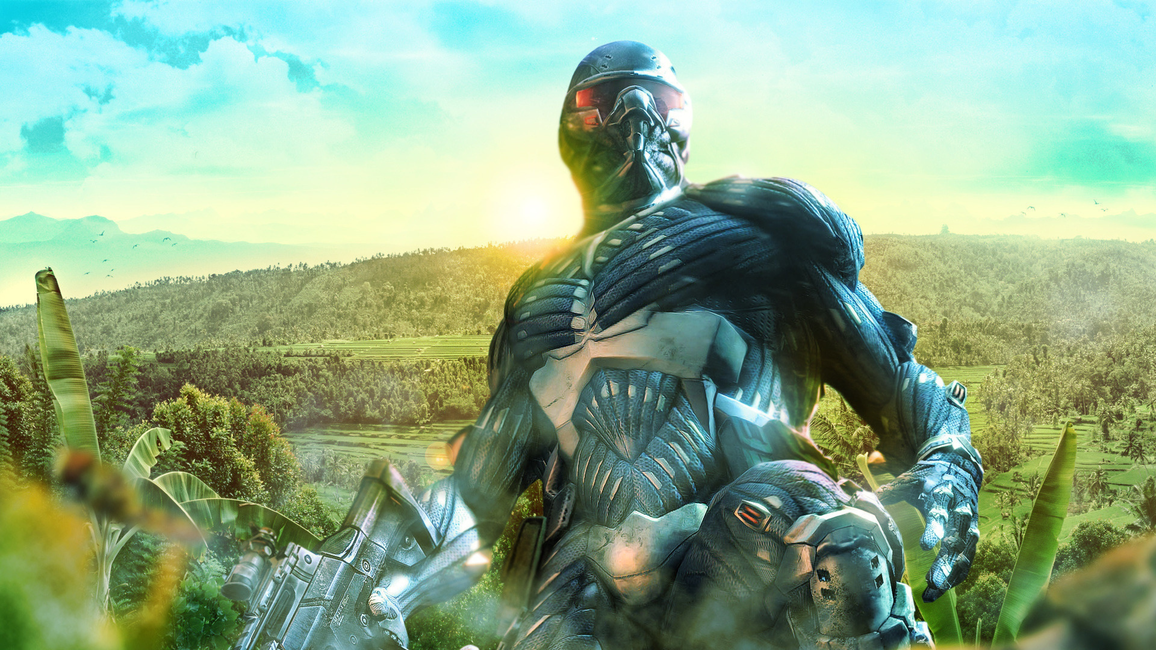 3840x2160 Preview wallpaper crysis, soldiers, art, nature, jungle