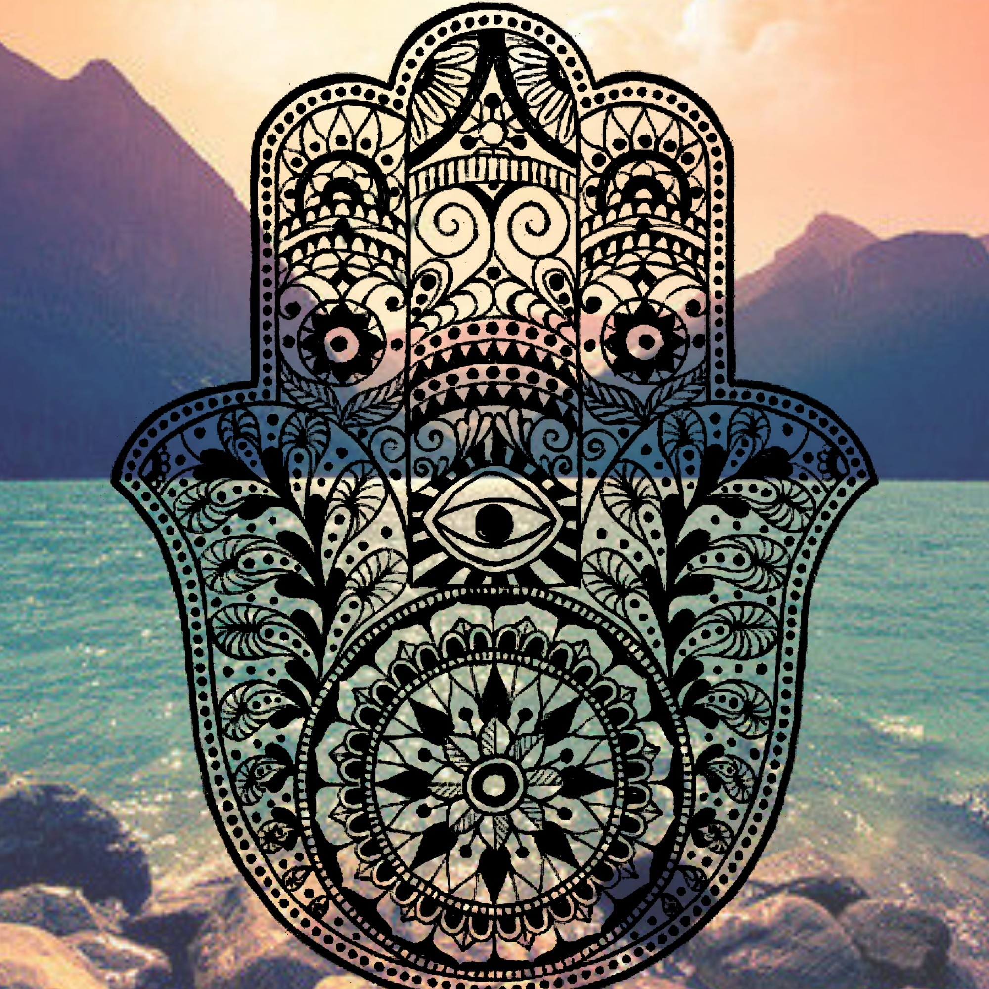 2000x2000 Hamsa iPhone Background mountain ocean tumblr evil eye hams hand henna