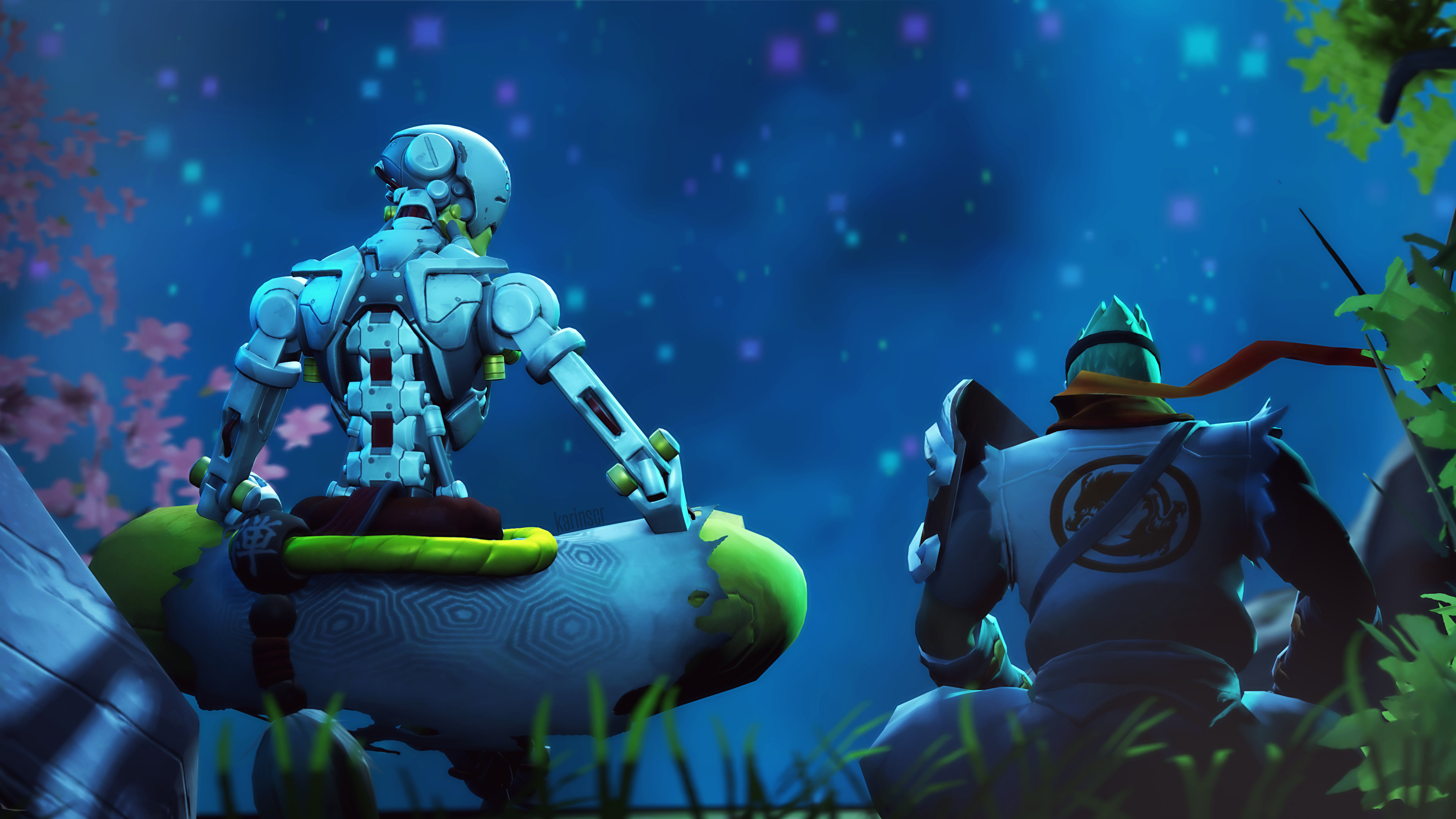 3840x2160  - genji, zenyatta, overwatch, stars, sitting # original  resolution. genji wallpapers ...
