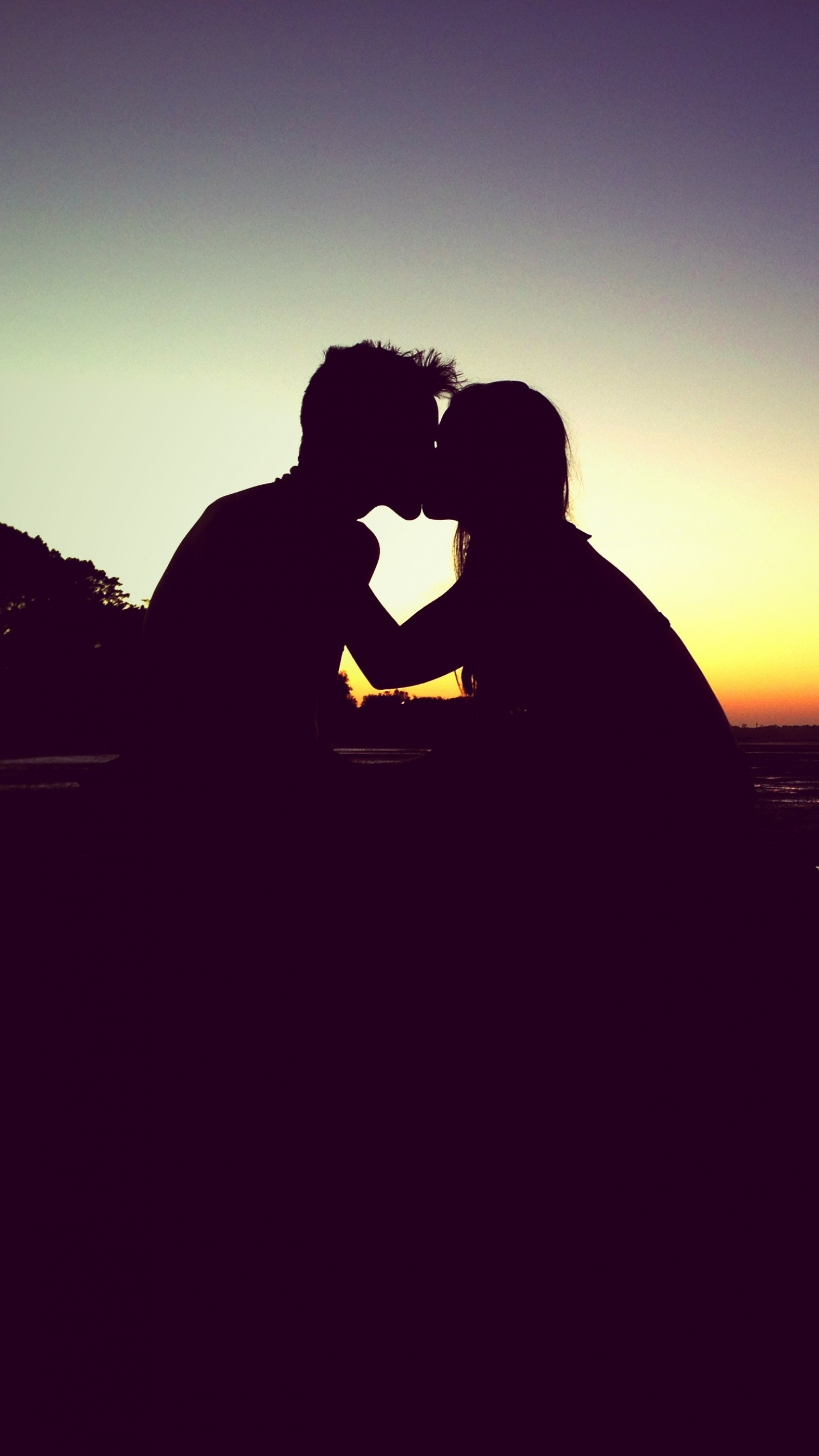 1440x2560 Preview wallpaper kiss, silhouette, couple, love, sunset