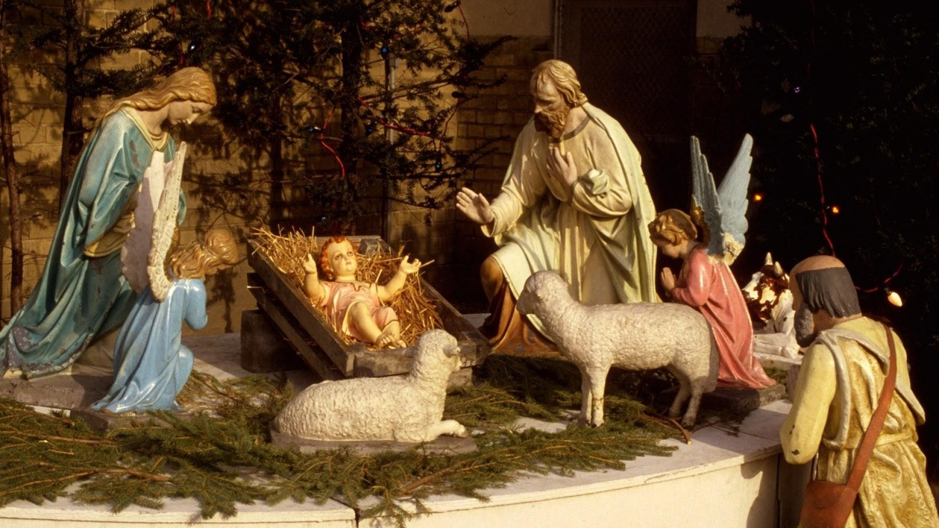 1920x1080 Preview wallpaper christmas, holiday, jesus, manger, sheep, needles, people,