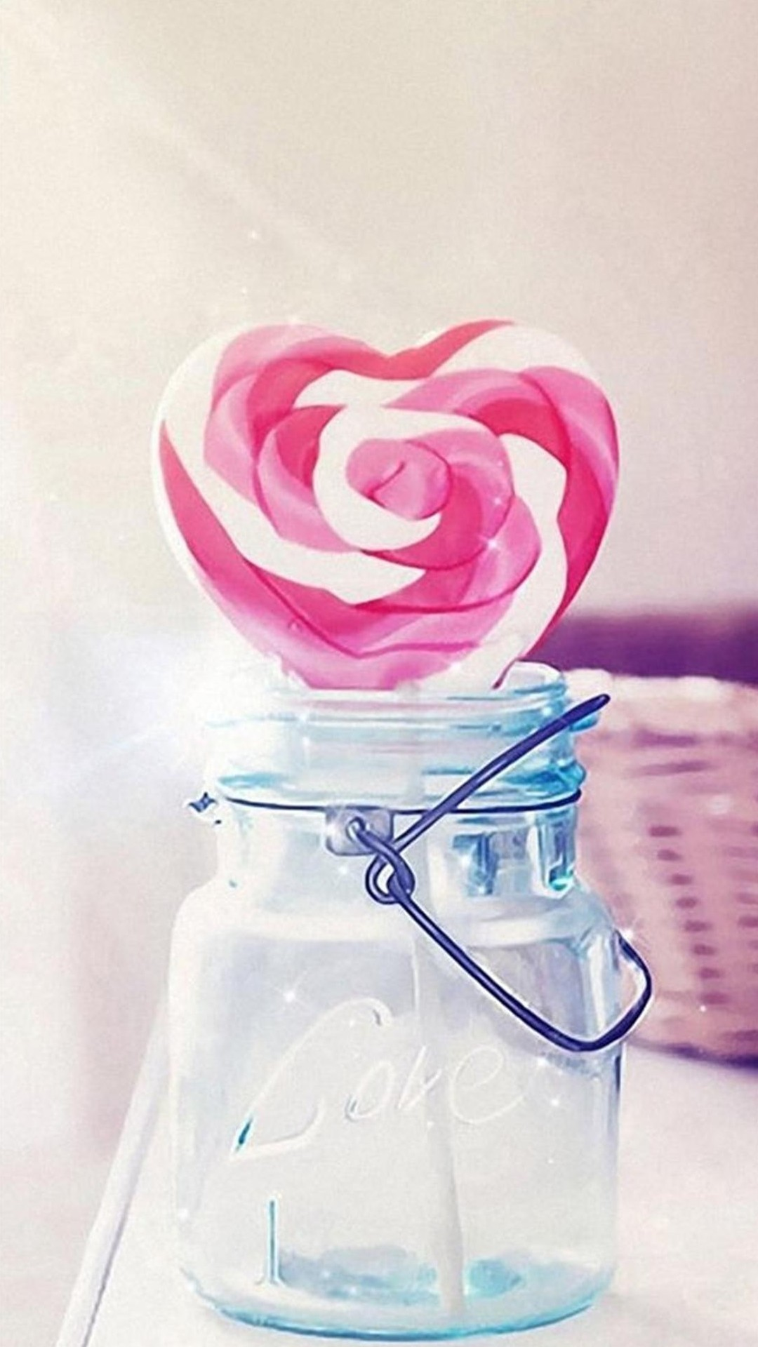1080x1920 Heart Candy Cane Glass Jar Valentines Gift Android Wallpaper ...