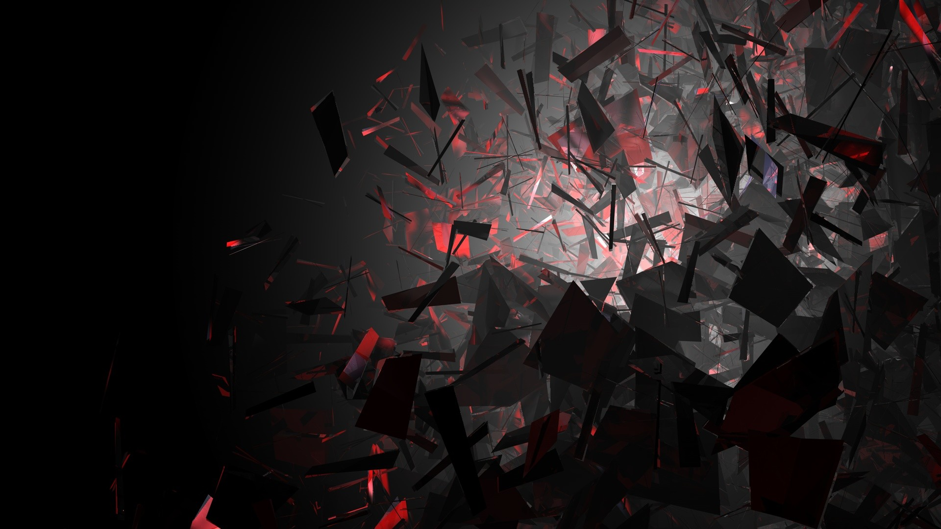 1920x1080 Black Dark Abstract 3D Shards Glass Red Wallpapers HD Desktop And Mobile Backgrounds