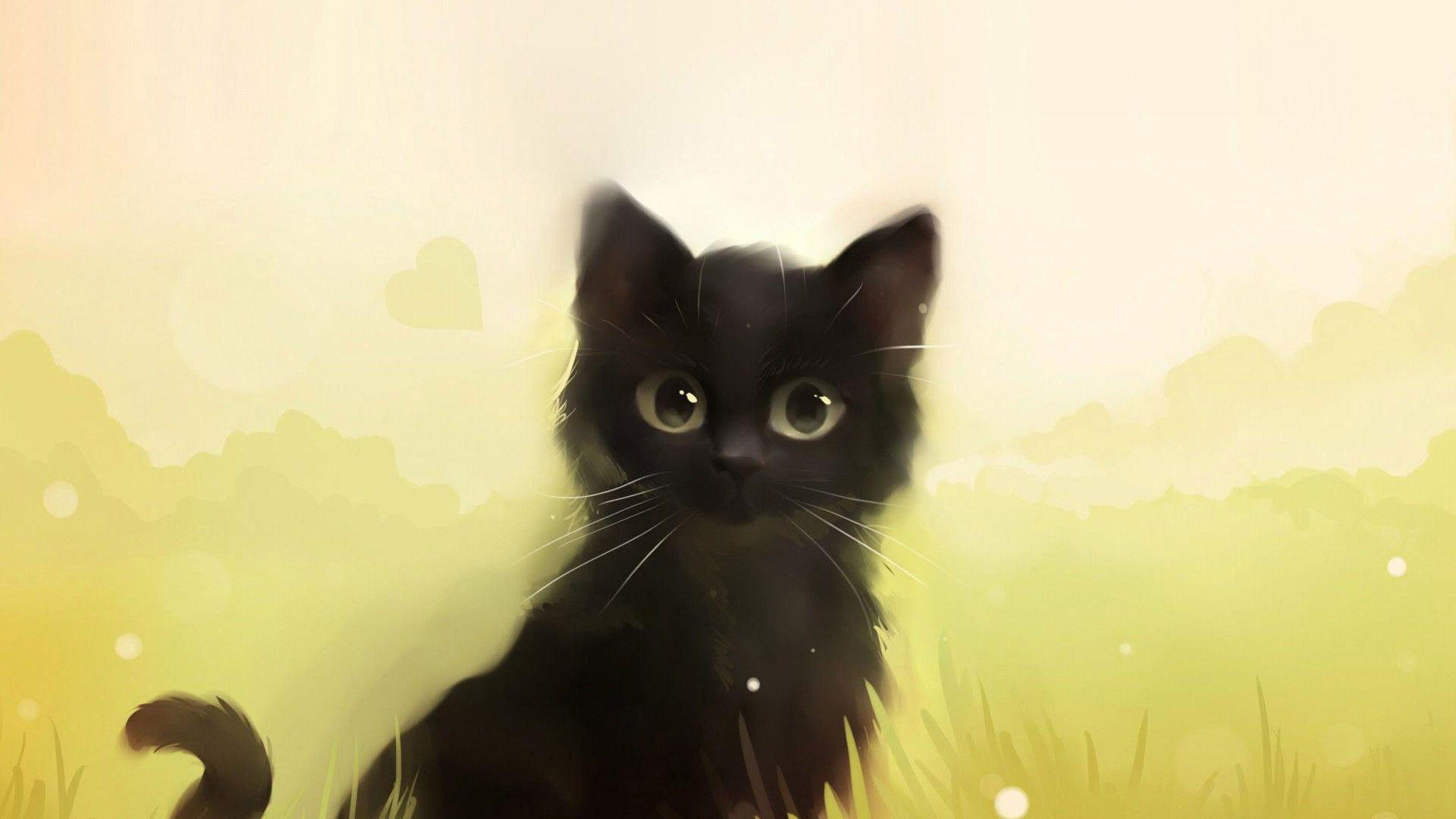 1920x1080 hd pics photos cute black animated black cat hd quality desktop background  wallpaper