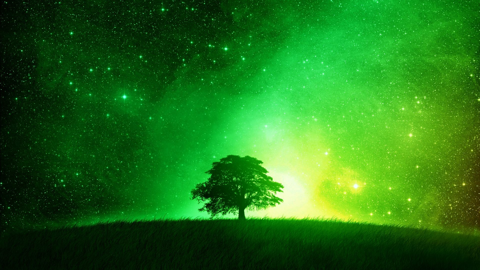 1920x1080 Glowing green tree desktop background