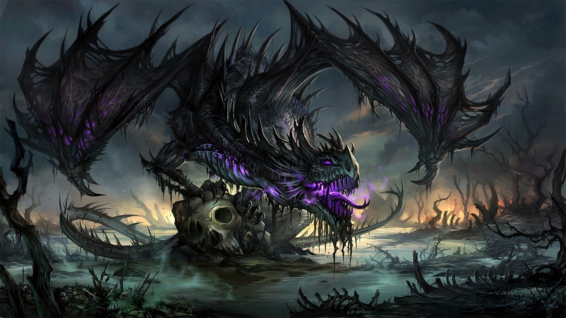 1920x1080 Purple dragon Wallpaper #44644