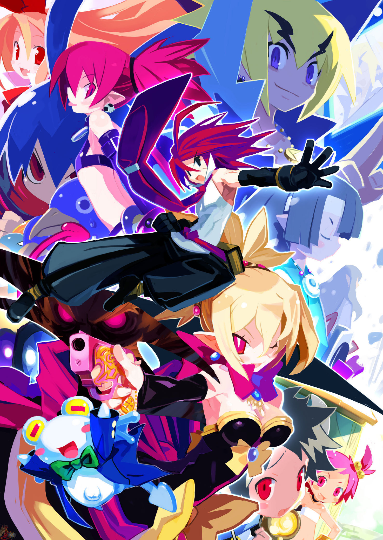 1475x2081 axel_(disgaea) bat_wings blonde_hair demon_girl detached_sleeves disgaea  disgaea_2 elbow_gloves etna flat_chest flonne flonne_(