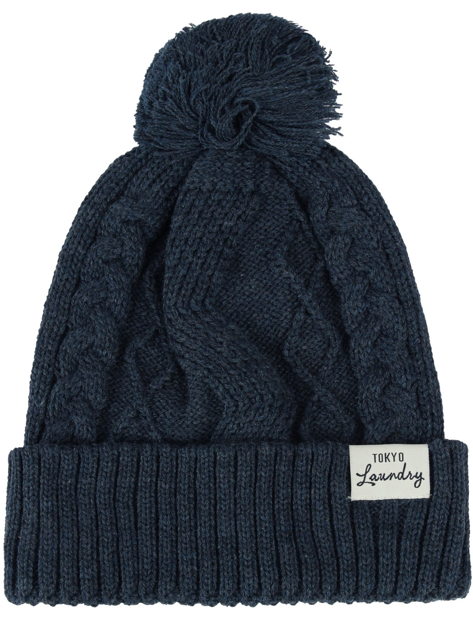 1532x2012 Shailene Cable Knit Bobble Hat in Dark Navy Marl – Tokyo Laundry