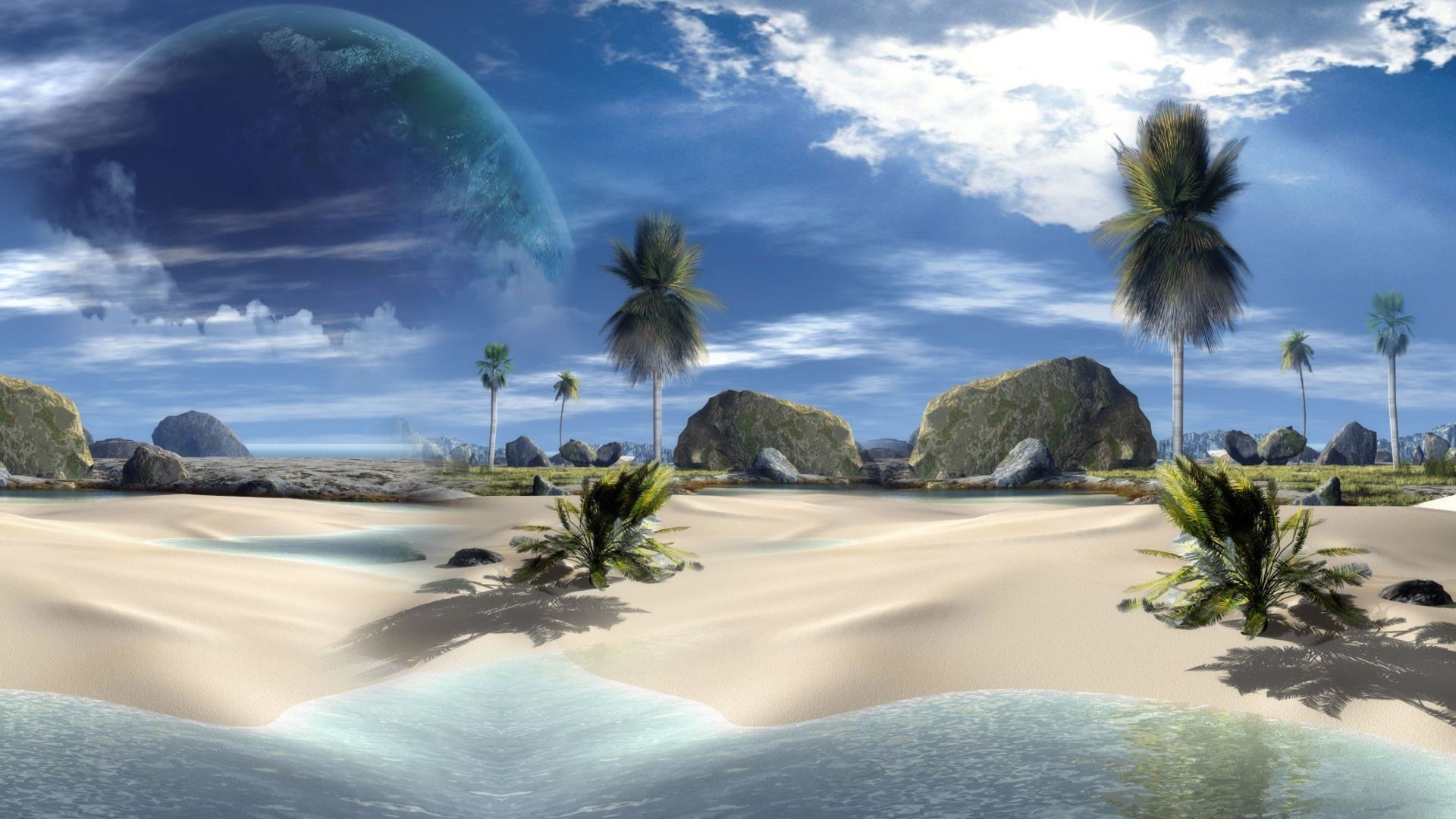 1920x1080 Cute 3d Beach Desktop #Wallpaper