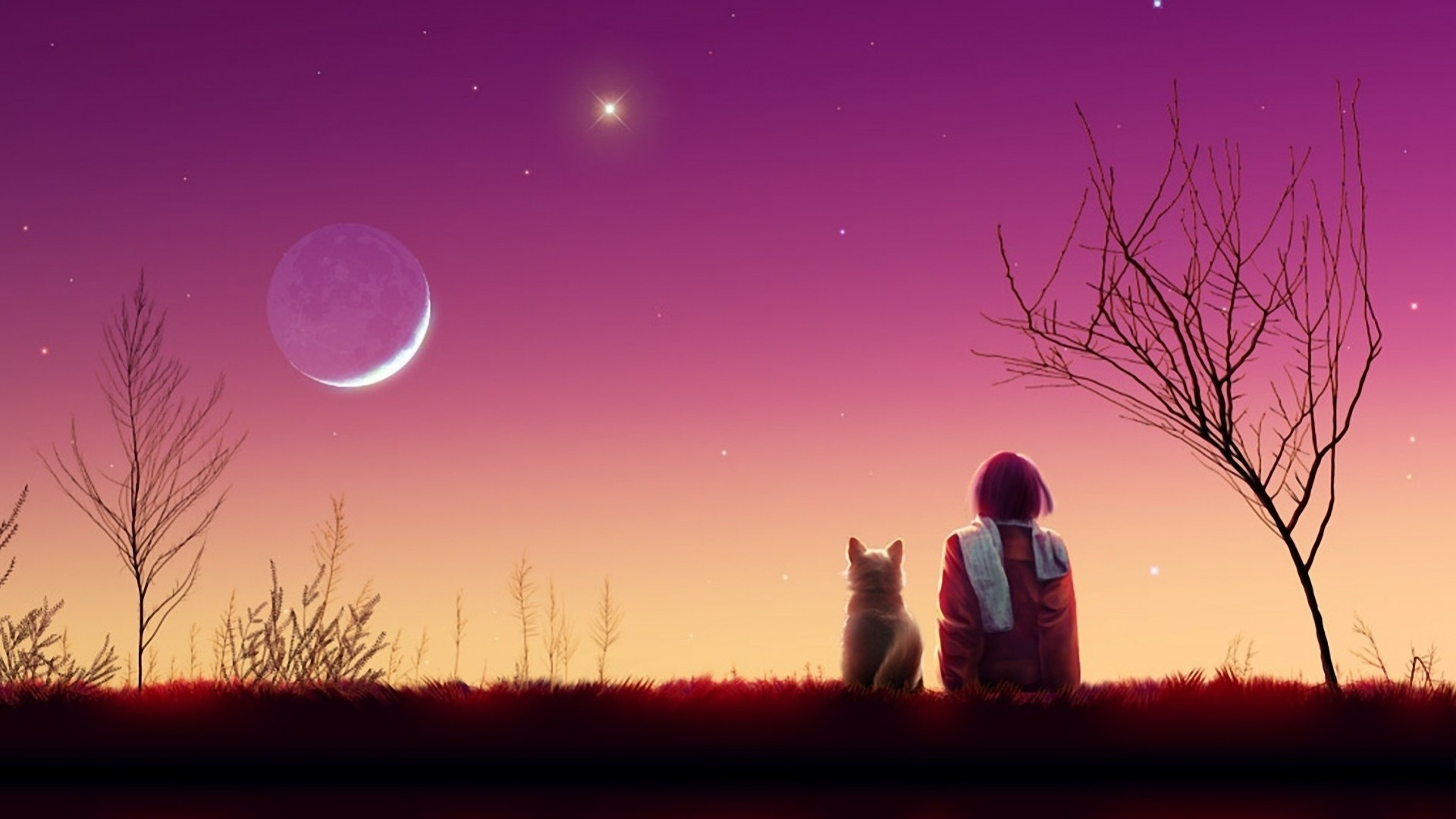 1920x1080 Preview wallpaper kagaya moon, anime, girl, cat, sunset, nature