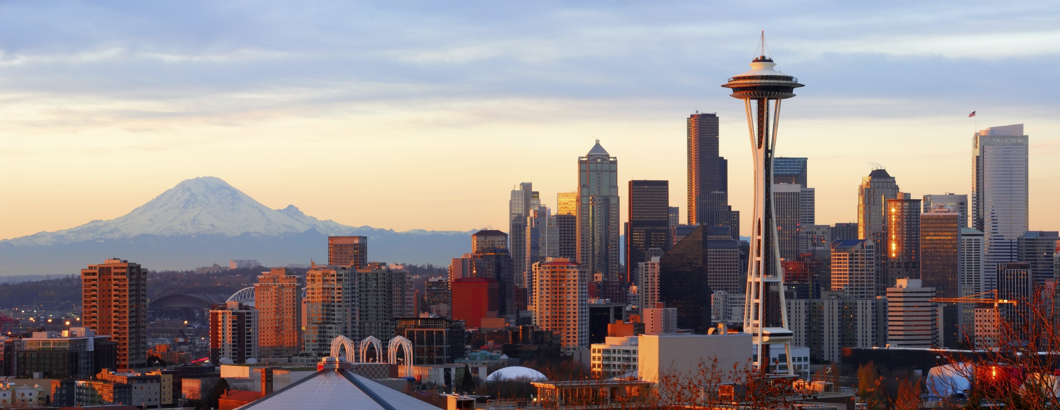 3564x1379 city, Landscape, Seattle, Mount Rainier Wallpapers HD / Desktop and Mobile  Backgrounds