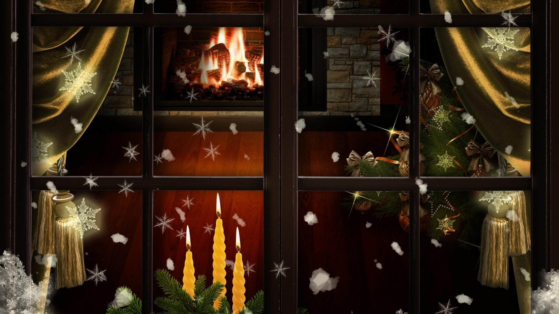 1920x1080  Wallpaper window, fireplace, candles, christmas tree, cozy,  christmas