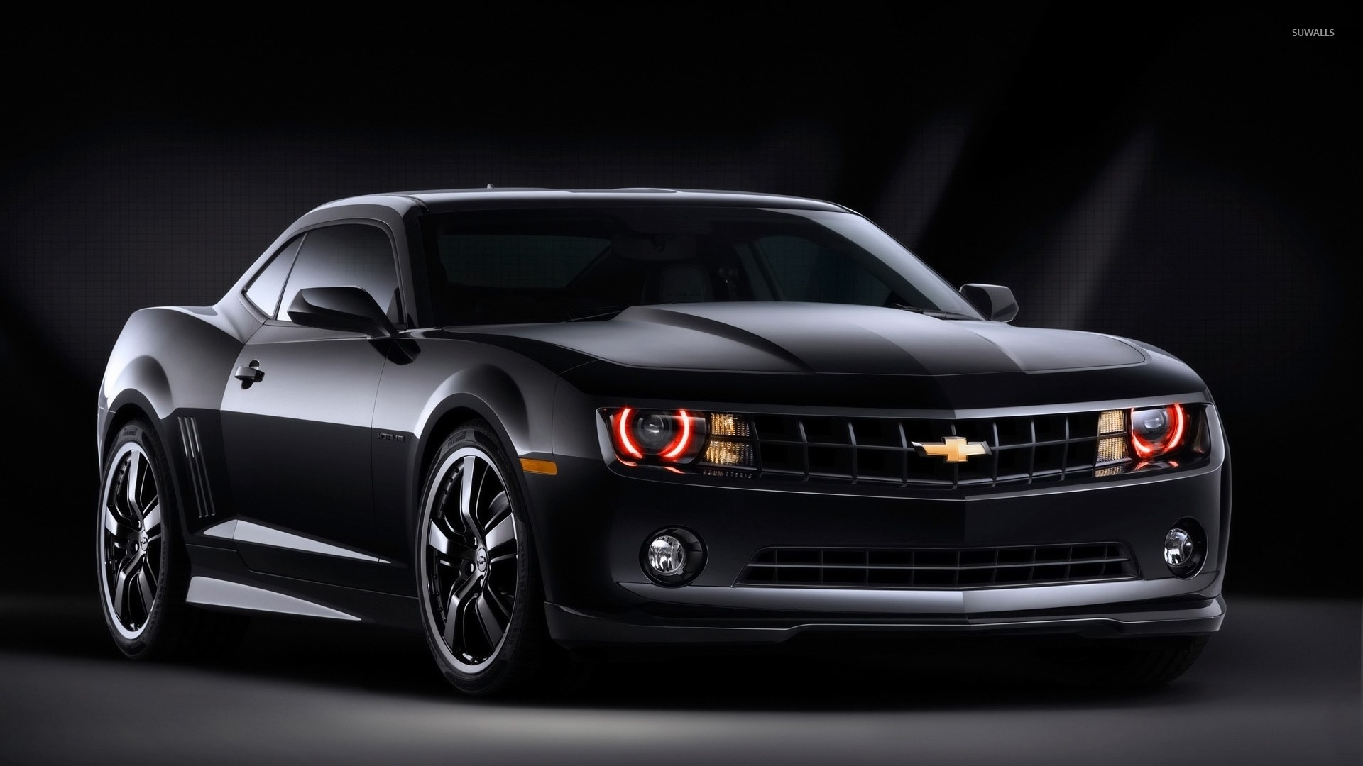 1920x1080 Black Chevrolet Camaro front side view wallpaper  jpg