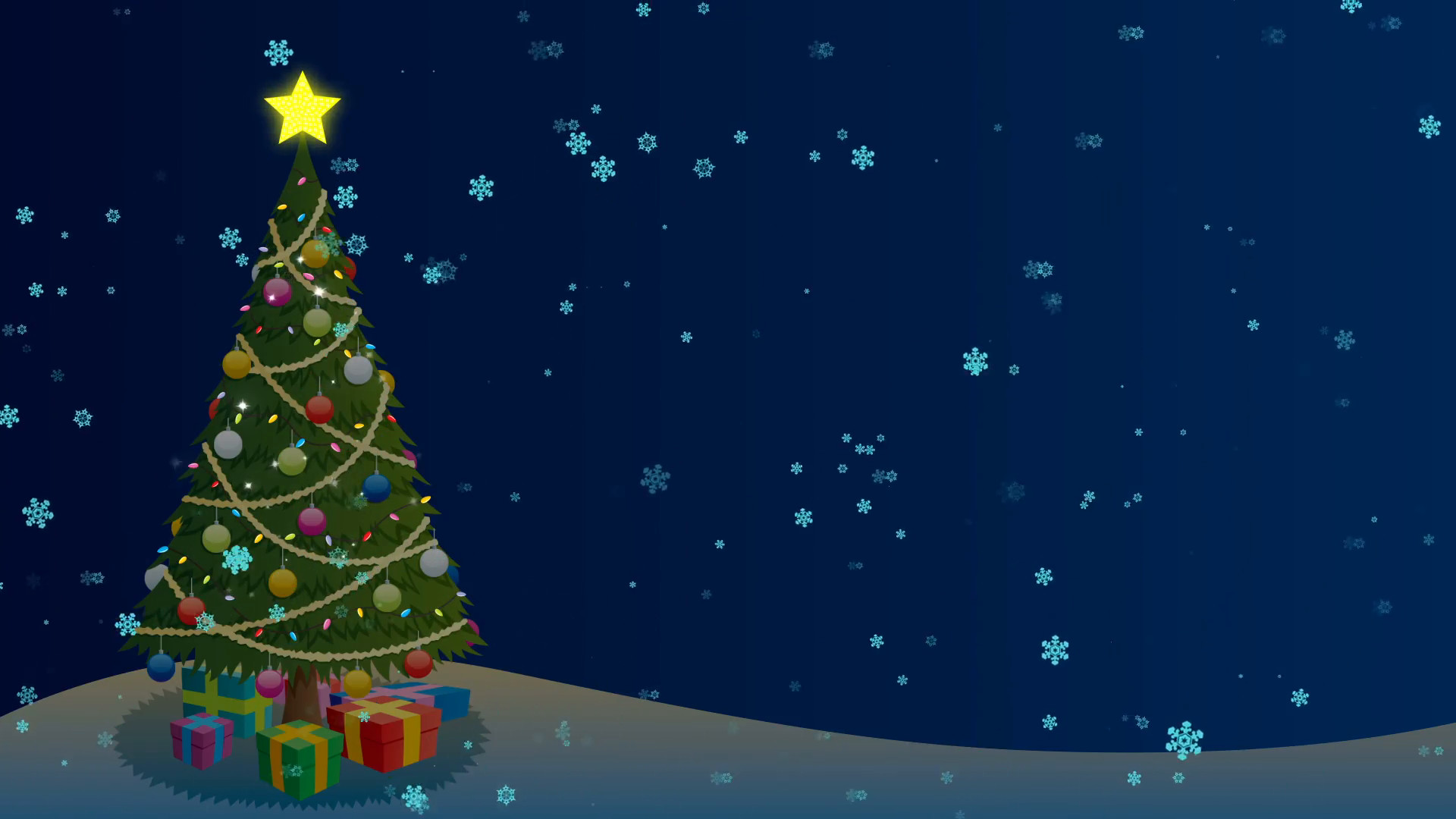 Animated Cartoon Christmas Tree Wallpaper
