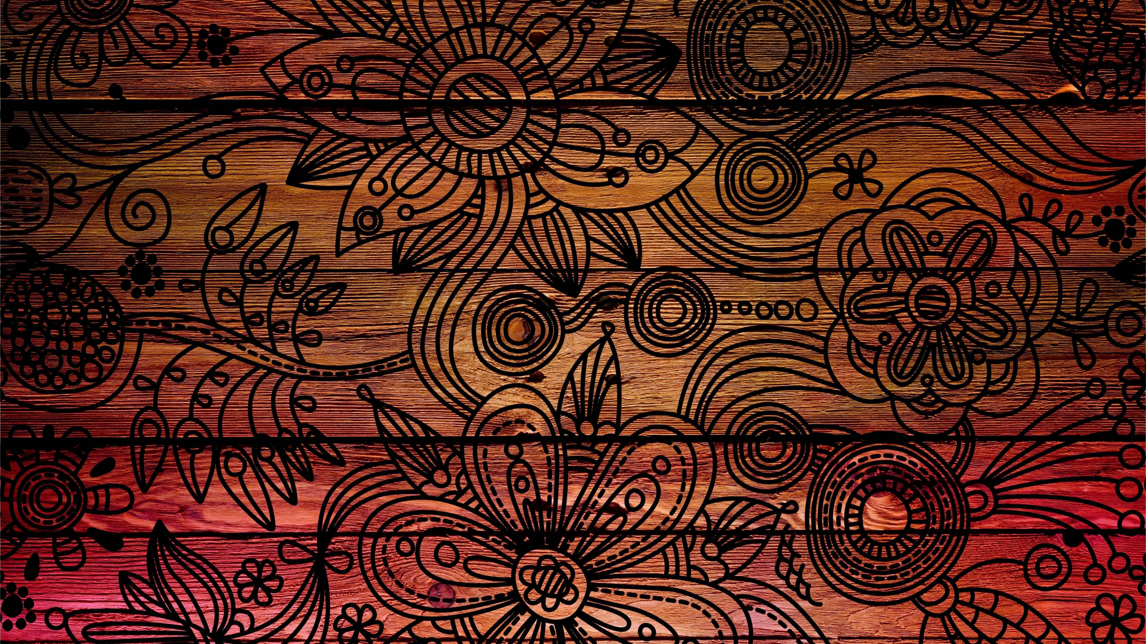 3840x2160 Preview wallpaper patterns, background, dark, wooden, texture
