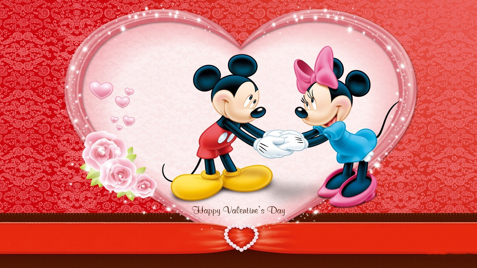 1920x1080 cute mickey wishes happy valentines day wallpaper Wallpaper with .