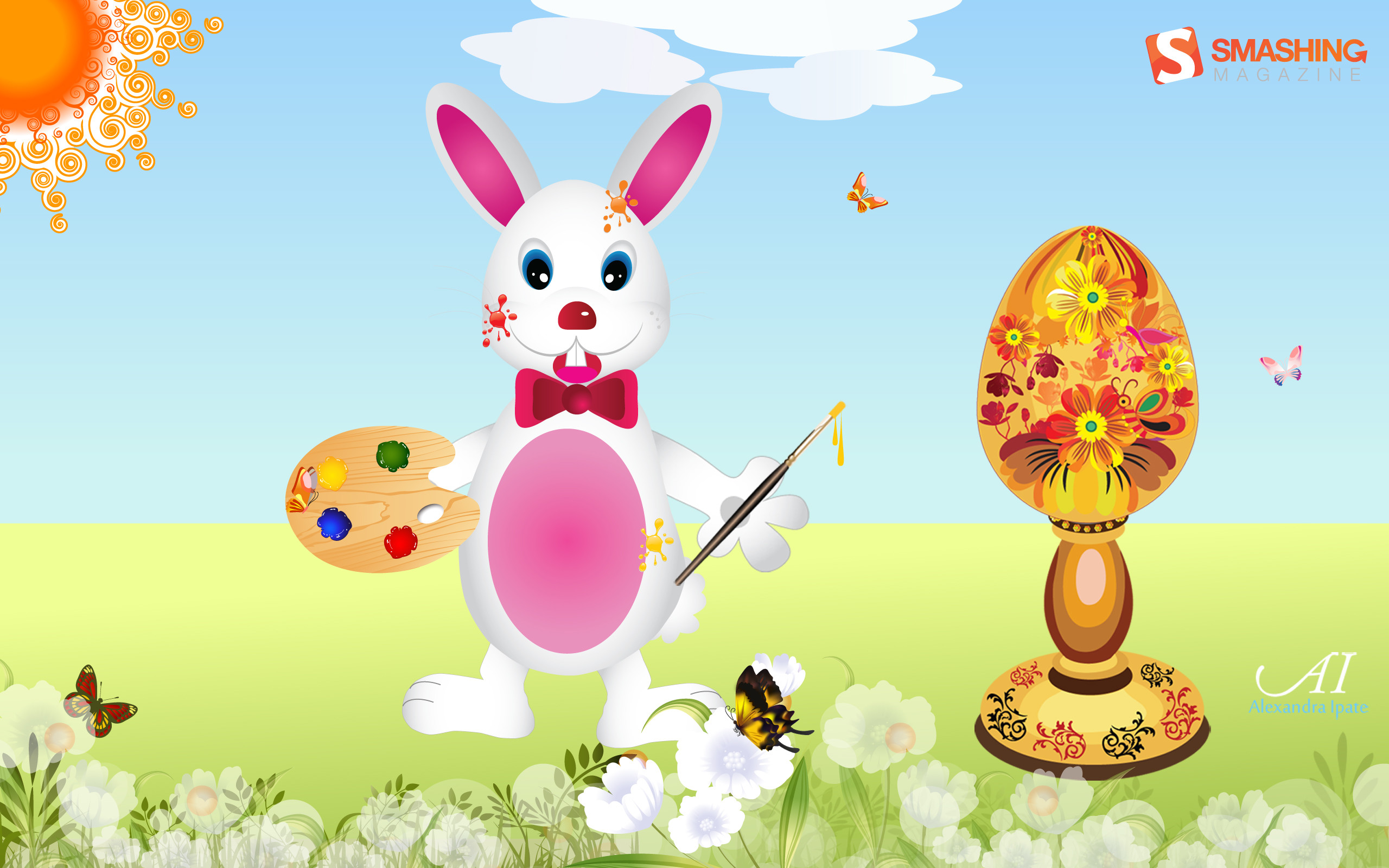 2560x1600 Easter Bunny With Painted Egg. ""