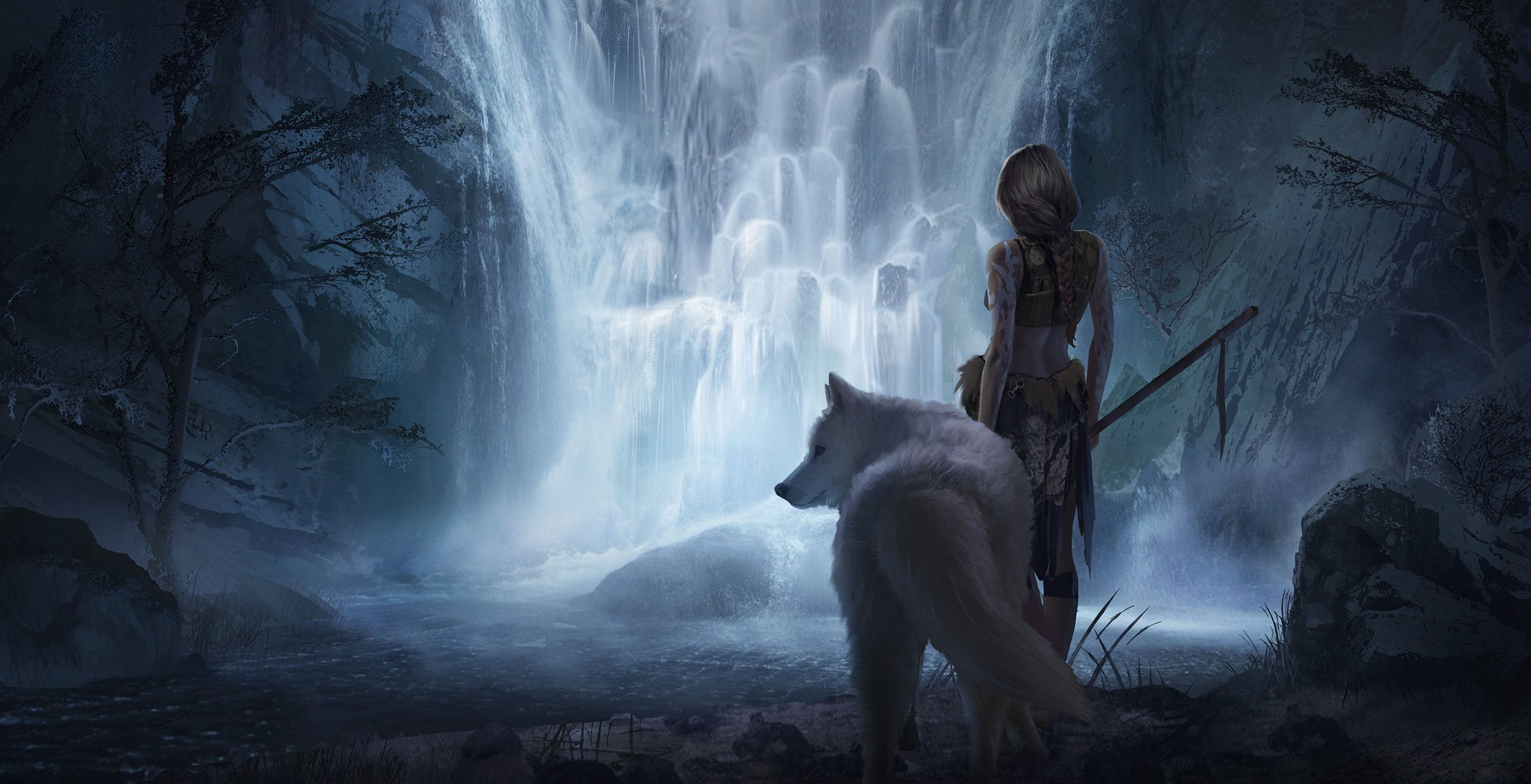 2500x1281 fantasy, Girl, Beauty, Beautiful, Long, Hair, Woman, Warrior, Animal,  Waterfall, Wolf Wallpapers HD / Desktop and Mobile Backgrounds