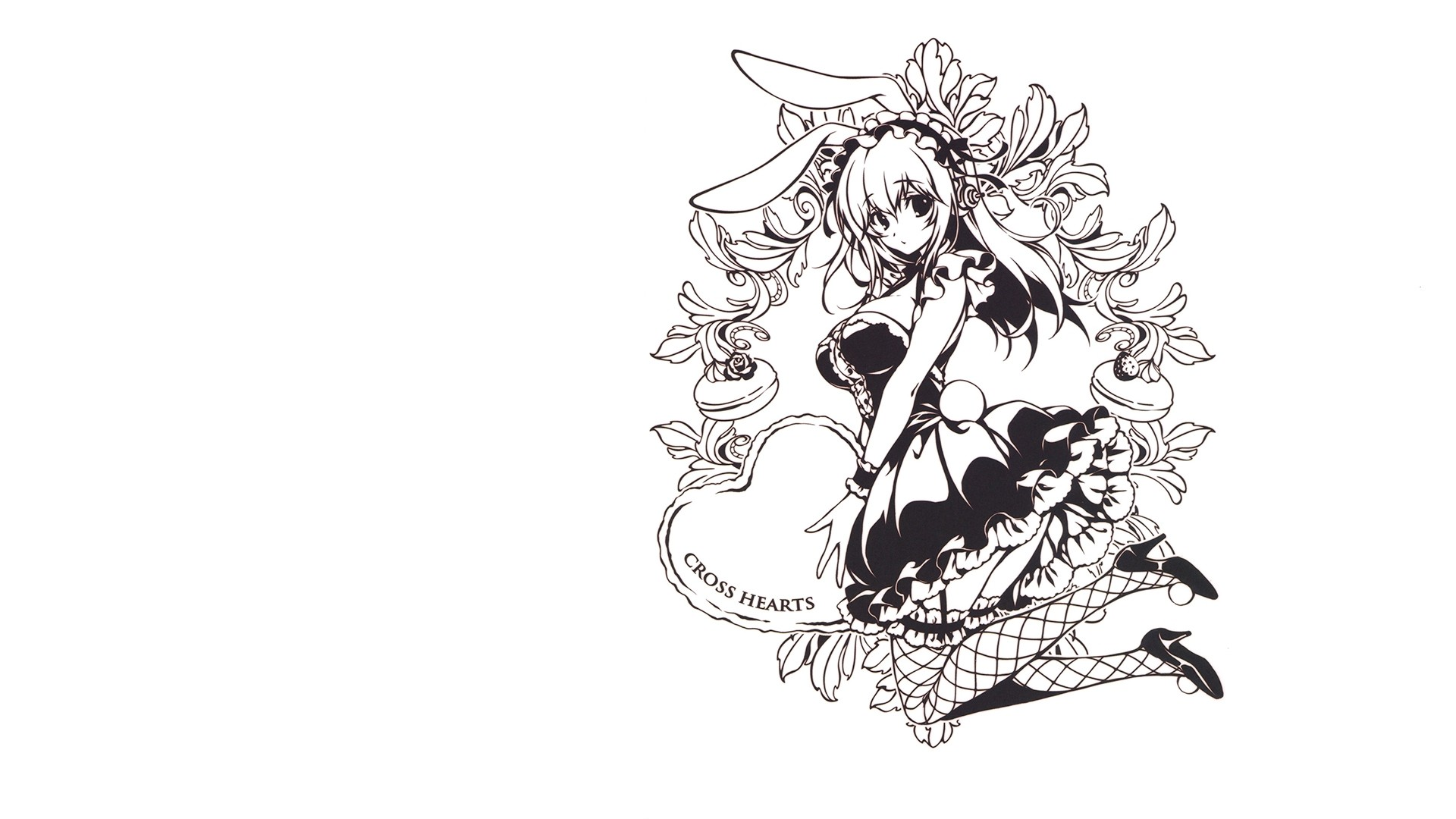 1920x1080 SoniAni: Super Sonico the Animation, Black And White, Maid, Bunny Ears,