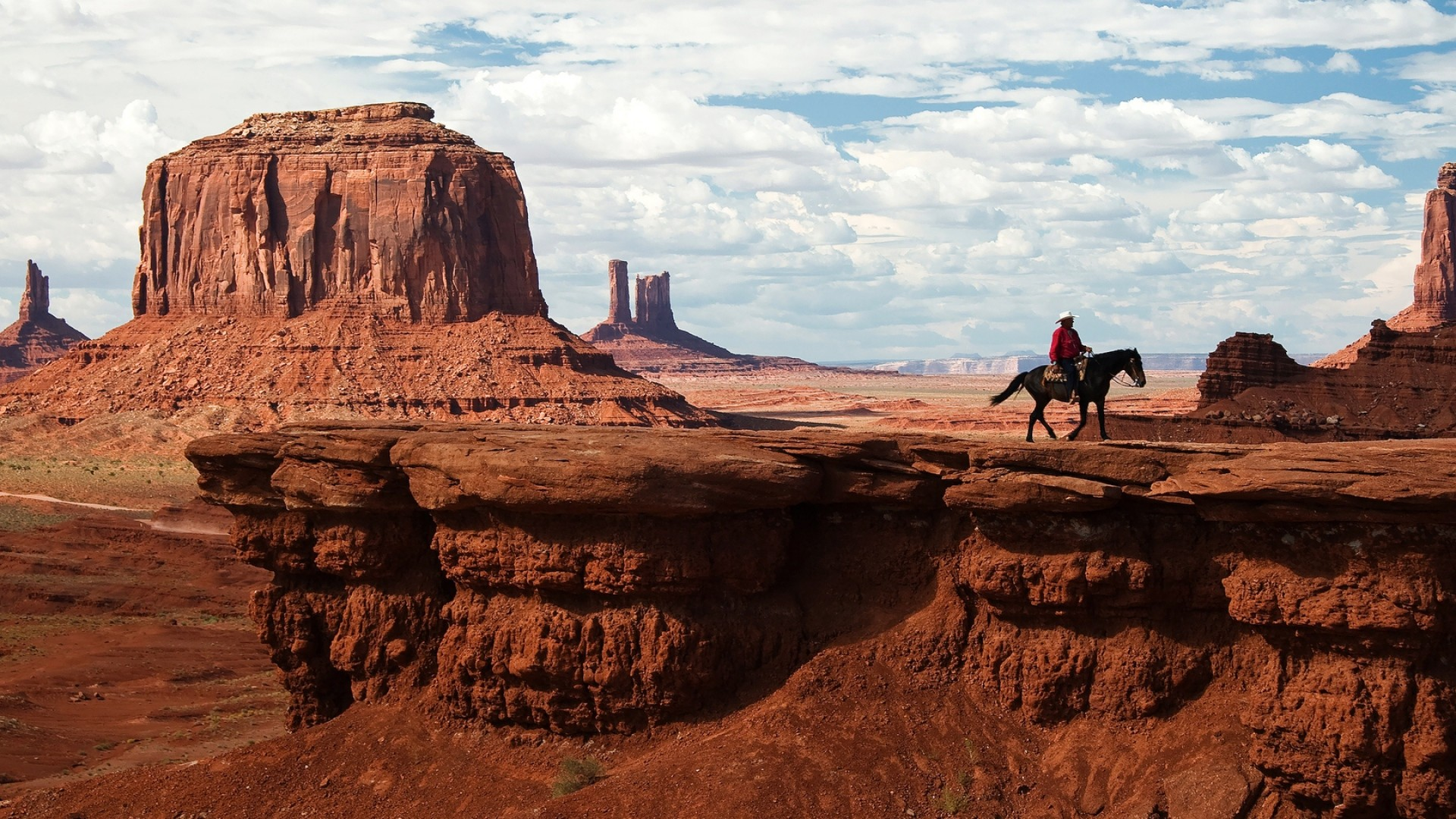 1920x1080 Preview wallpaper canyon, desert, horseback rider, wild west, cowboy